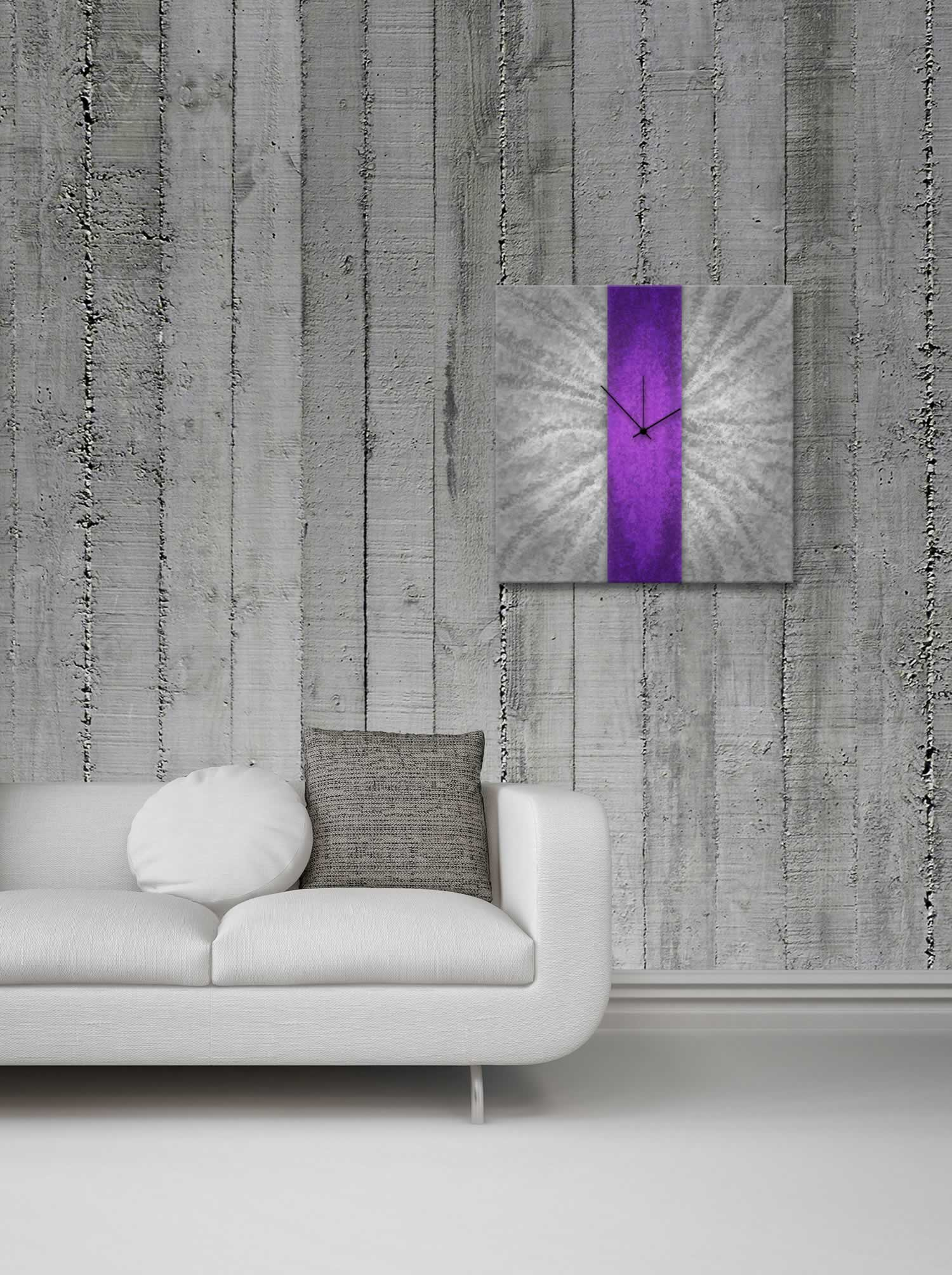 Violet Stripe Clock - Contemporary Metal Wall Clock - Lifestyle Image
