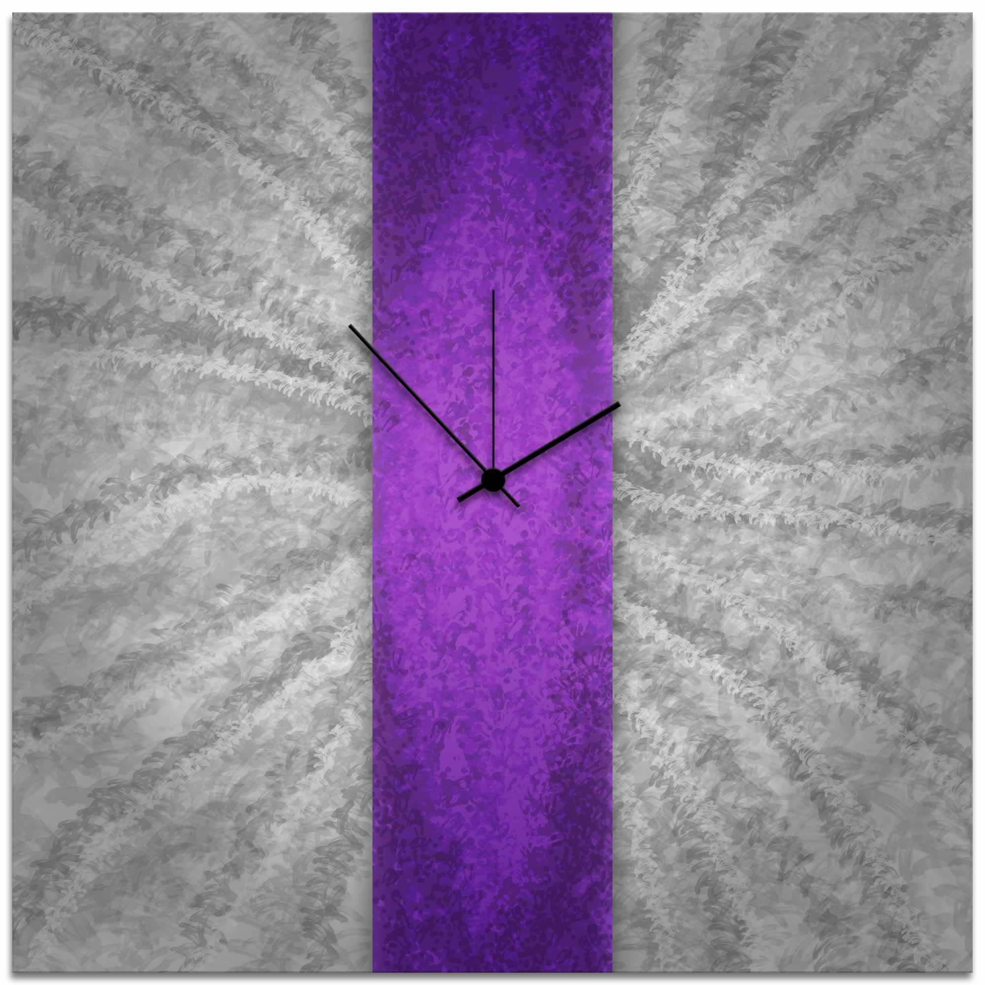 Violet Stripe Clock - Contemporary Metal Wall Clock