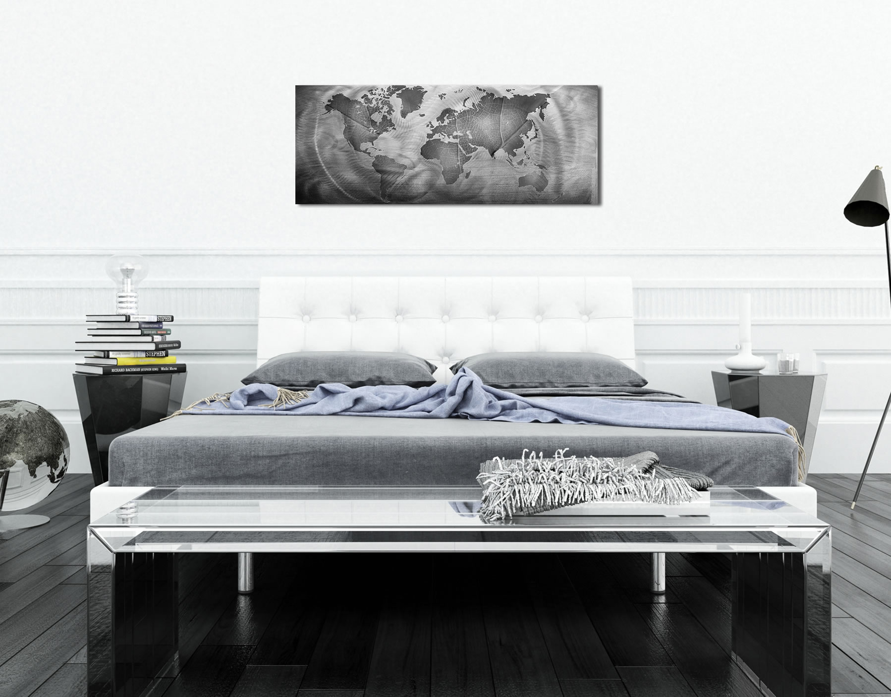 Monochrome Land & Sea - Modern Metal Wall Art - Lifestyle Image