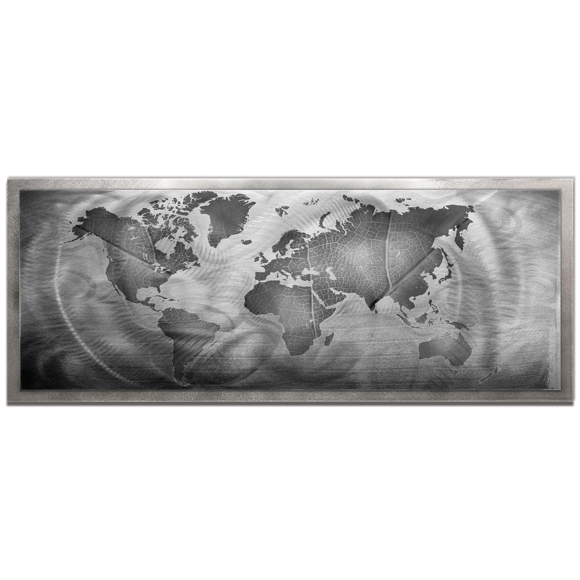 Amber LaRosa 'Monochrome Land and Sea Framed' 48in x 19in Traditional World Map Art on Colored Metal