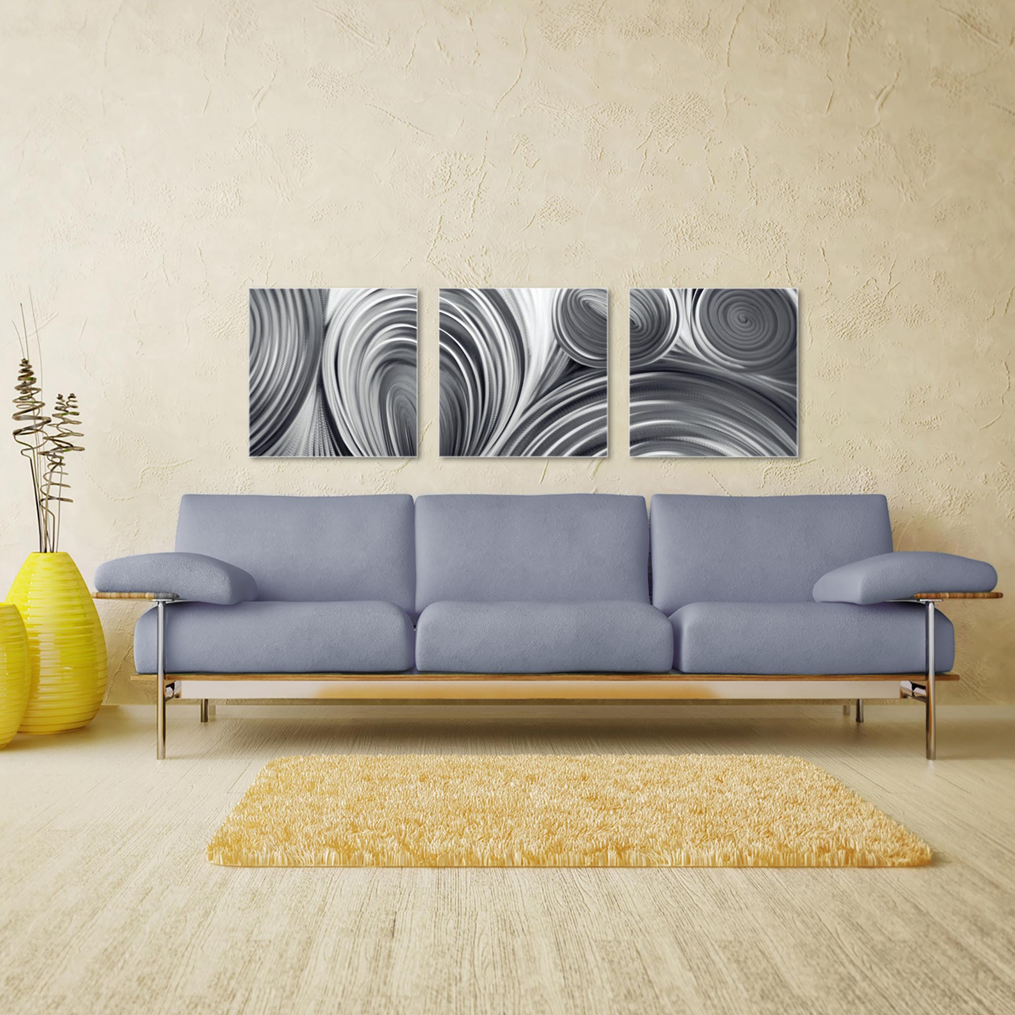 Conduction Triptych Large 70x22in. Metal or Acrylic Contemporary Decor - Image 3