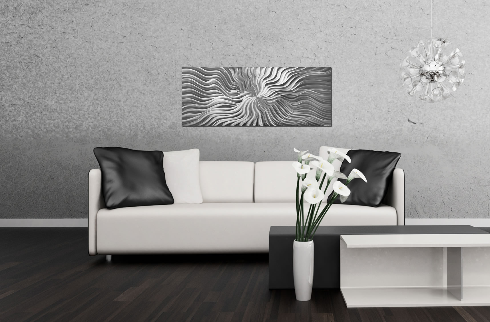 ... Flexure Composition   Modern Metal Wall Art   Lifestyle Image