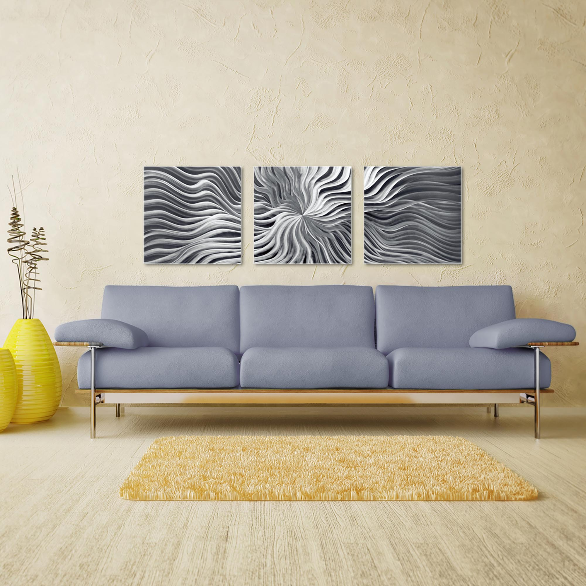 Flexure Triptych Large 70x22in. Metal or Acrylic Contemporary Decor - Image 3