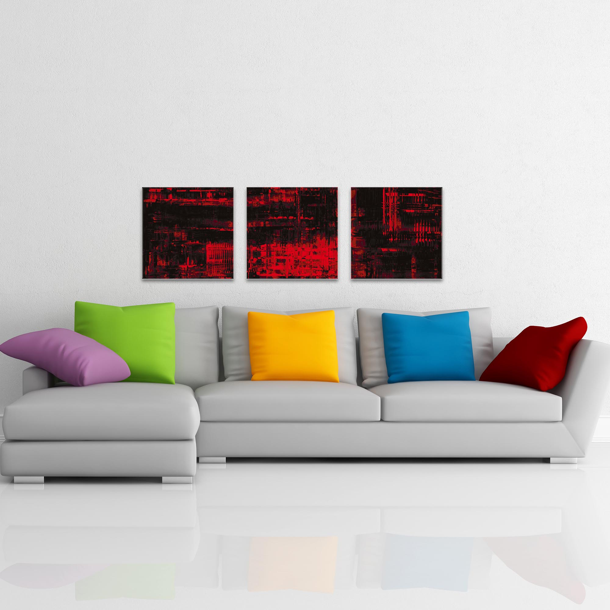 Aporia Red Triptych Large 70x22in. Metal or Acrylic Contemporary Decor - Image 3