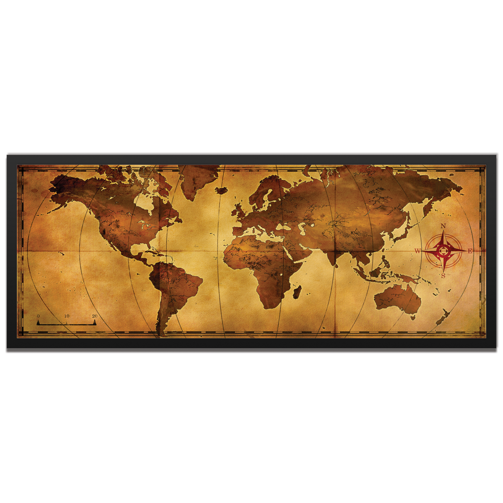 Alan Rodriguez 'Old World Map Framed' 48in x 19in Traditional World Map Art on Colored Metal