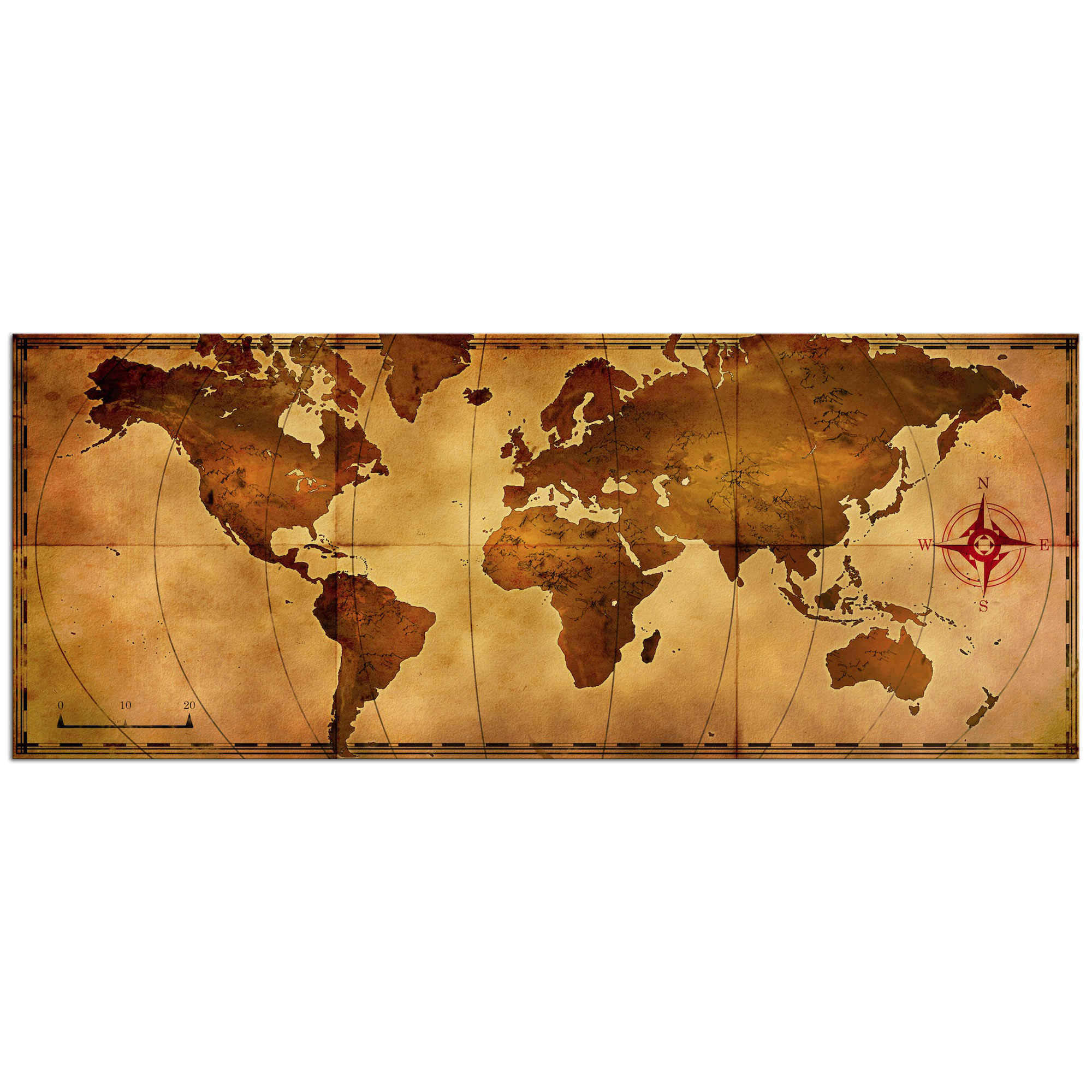 Old World Map   Contemporary Metal Wall Art