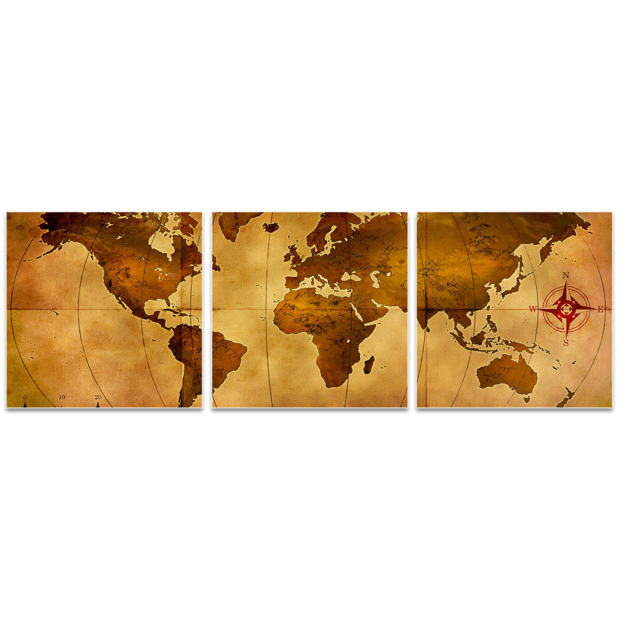 Old World Map Triptych 38x12in. Metal or Acrylic Colonial Decor - Image 2