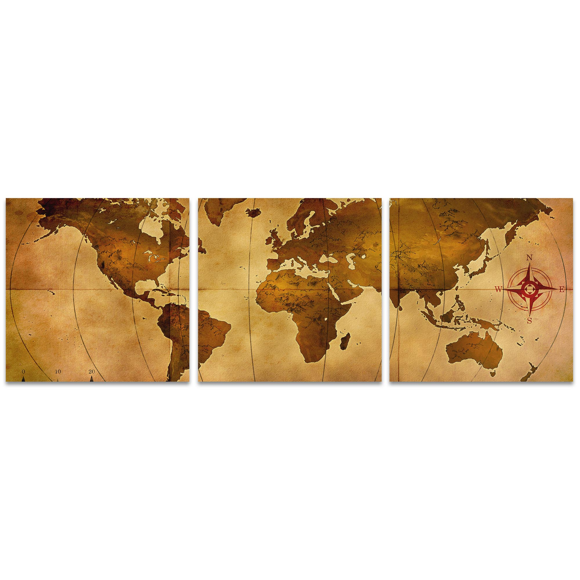 Old World Map Triptych 38x12in. Metal or Acrylic Colonial Decor