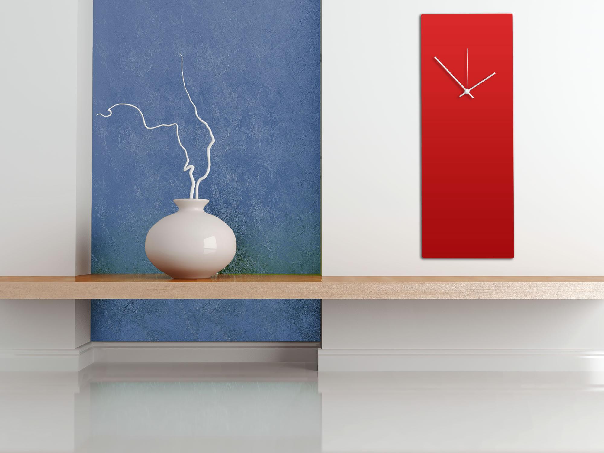 Redout White Clock - Large - Minimalist Red Wall Clock - Lifestyle Image