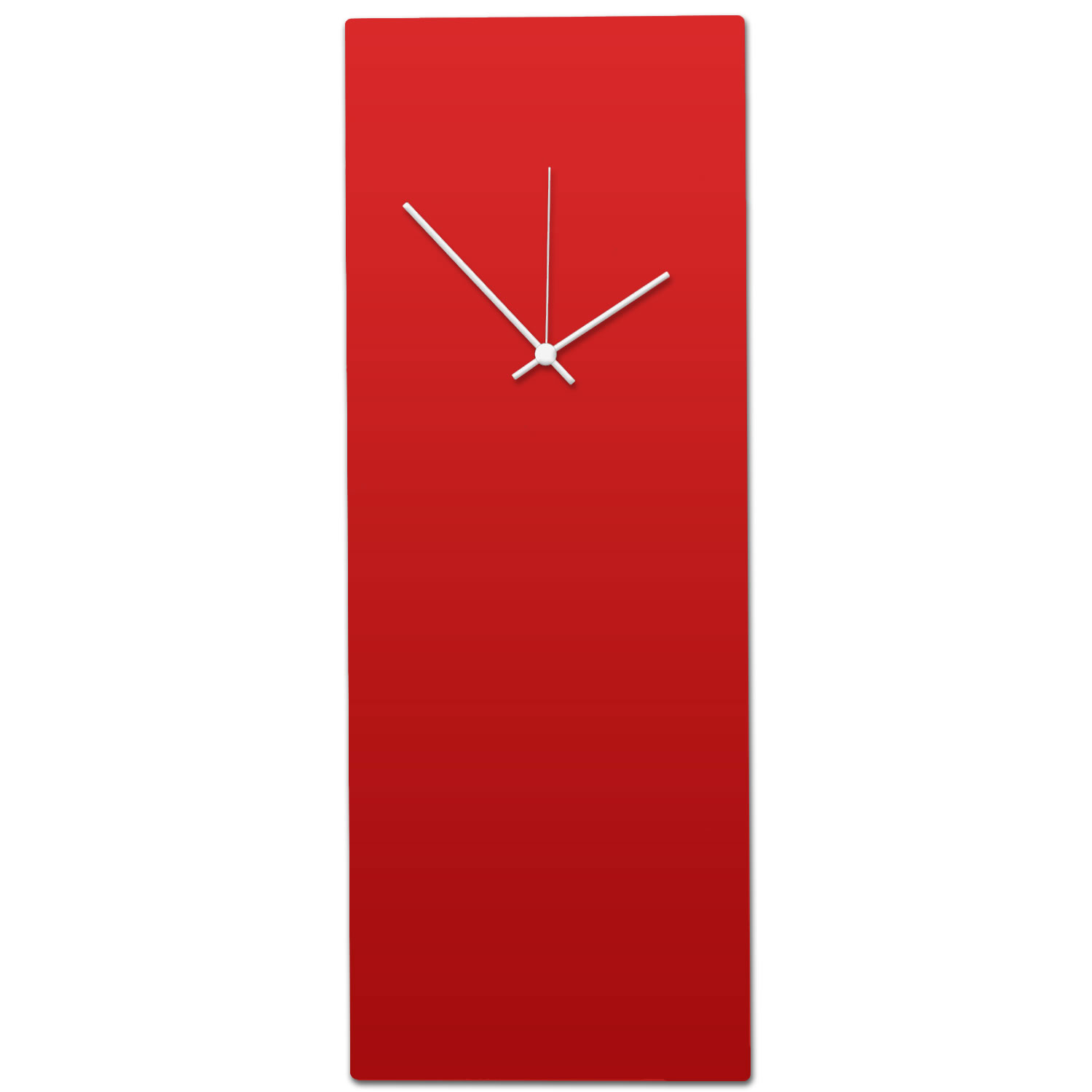 Redout White Clock - Large - Minimalist Red Wall Clock