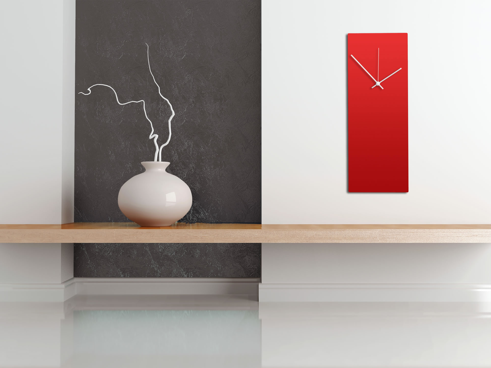 Redout White Clock - Minimalist Red Wall Clock - Lifestyle Image