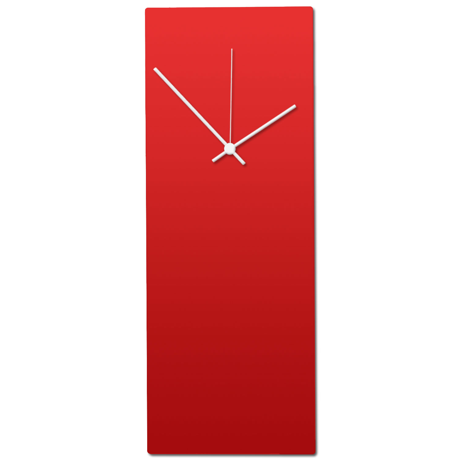 Redout White Clock - Minimalist Red Wall Clock