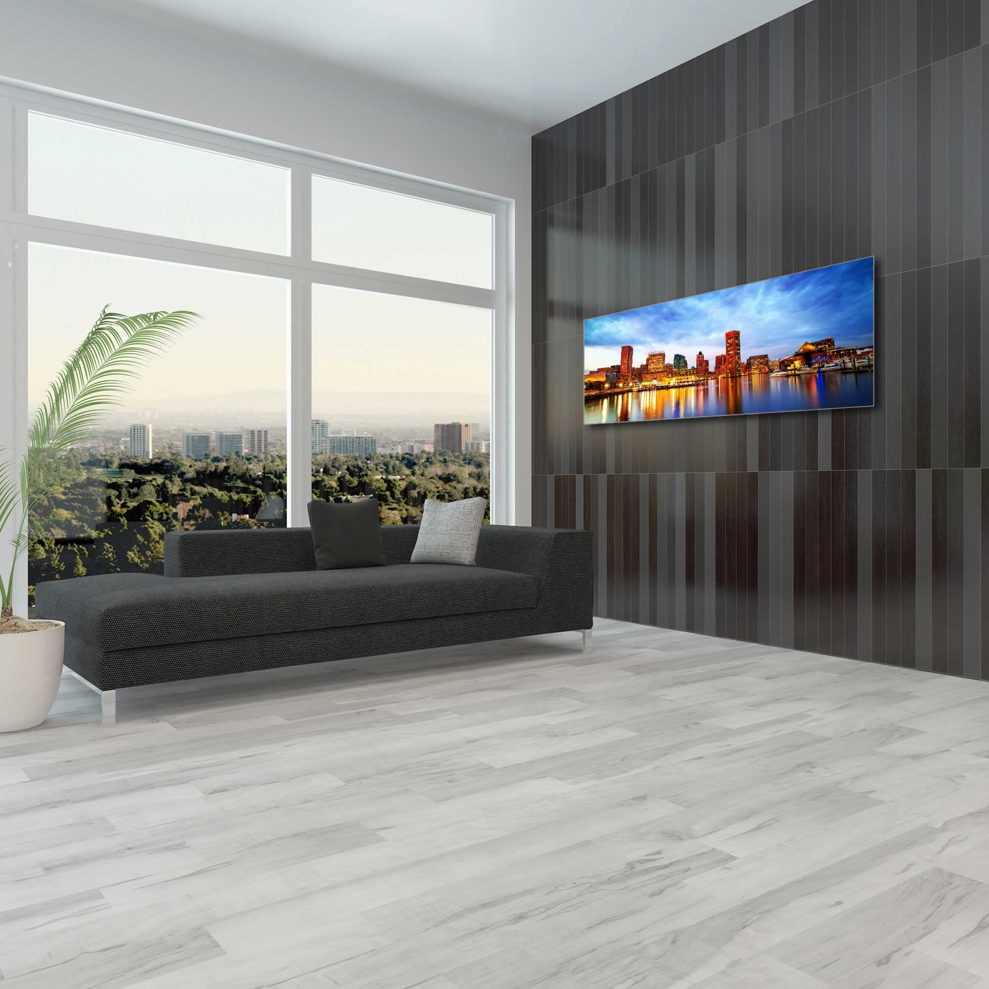 Baltimore City Skyline - Urban Modern Art, Designer Home Decor, Cityscape Wall Artwork, Trendy Contemporary Art - Alternate View 1