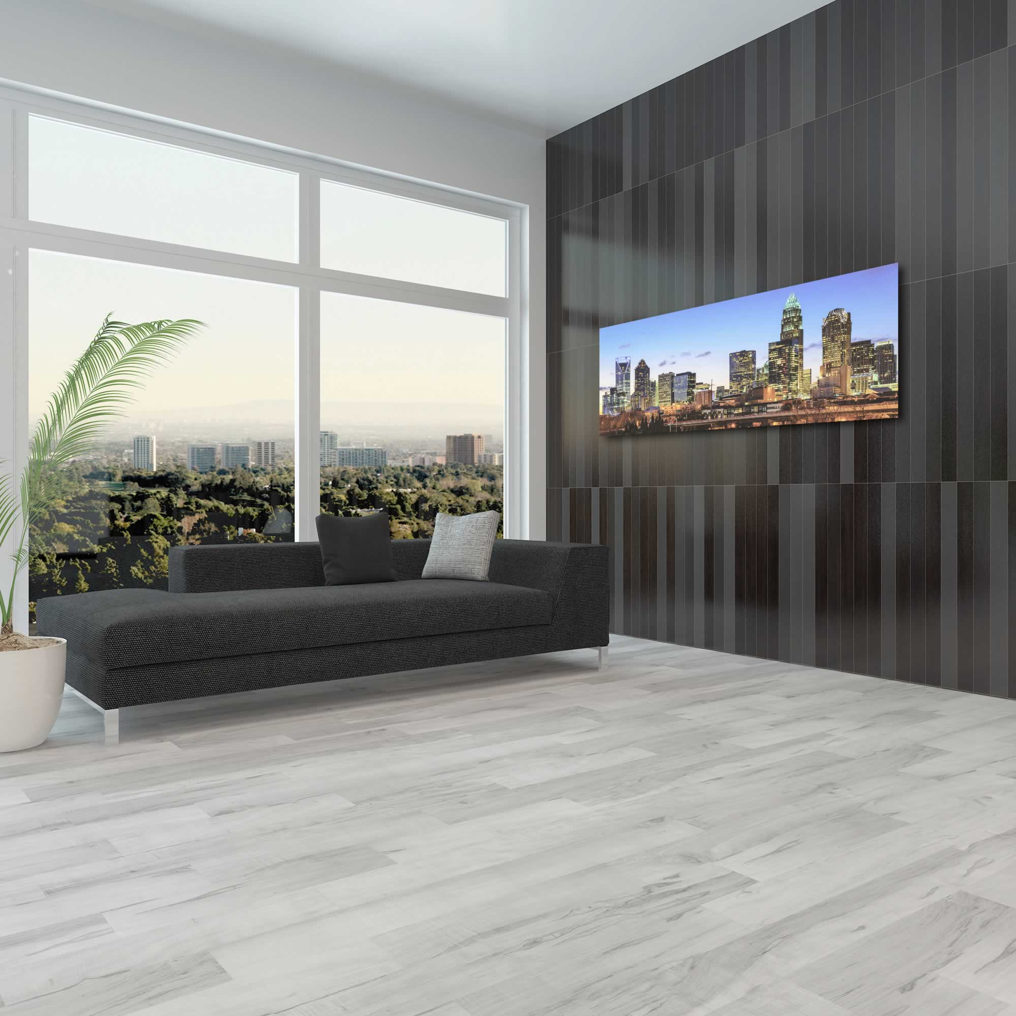 Charlotte City Skyline - Urban Modern Art, Designer Home Decor, Cityscape Wall Artwork, Trendy Contemporary Art - Alternate View 3