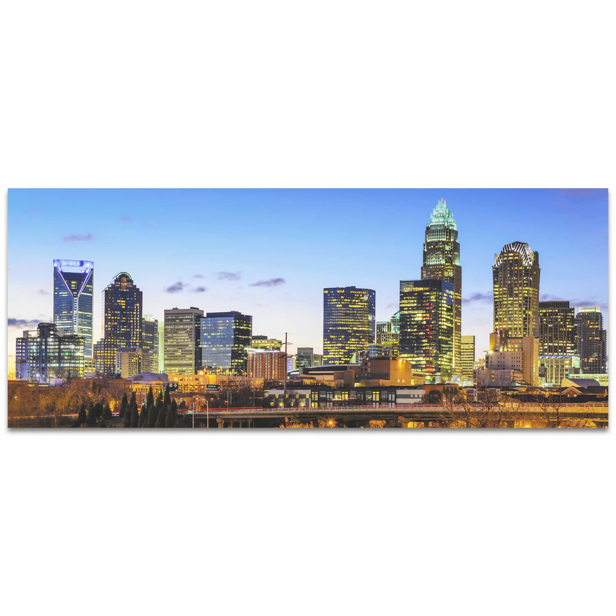 Charlotte City Skyline - Urban Modern Art, Designer Home Decor, Cityscape Wall Artwork, Trendy Contemporary Art - Alternate View 2