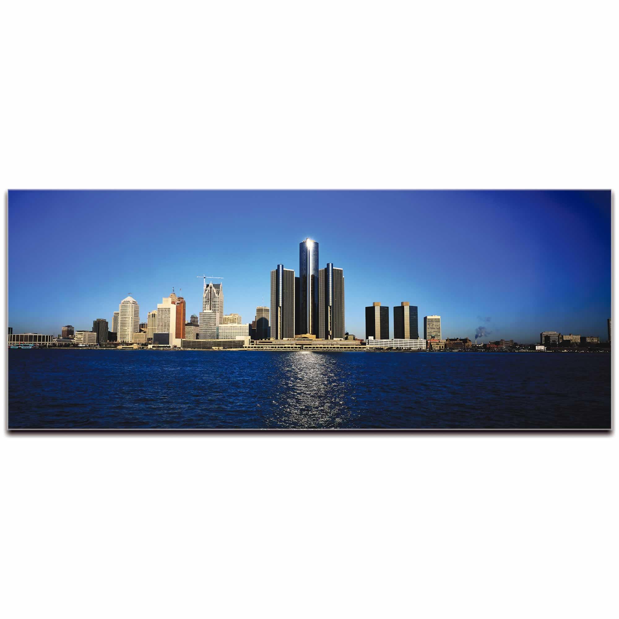 Detroit City Skyline - Urban Modern Art, Designer Home Decor, Cityscape Wall Artwork, Trendy Contemporary Art