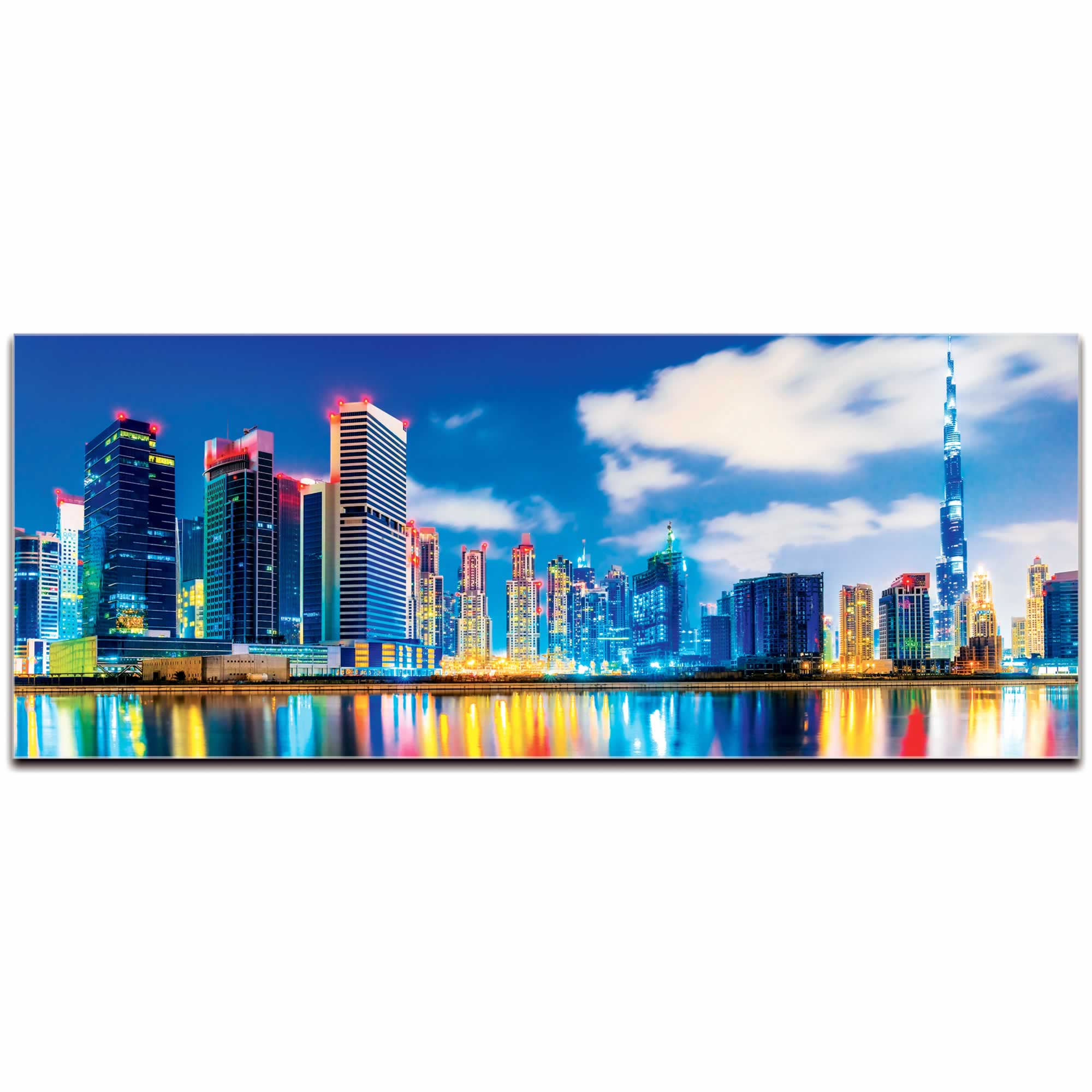Dubai City Skyline At Night - Urban Modern Art, Designer Home Decor, Cityscape Wall Artwork, Trendy Contemporary Art