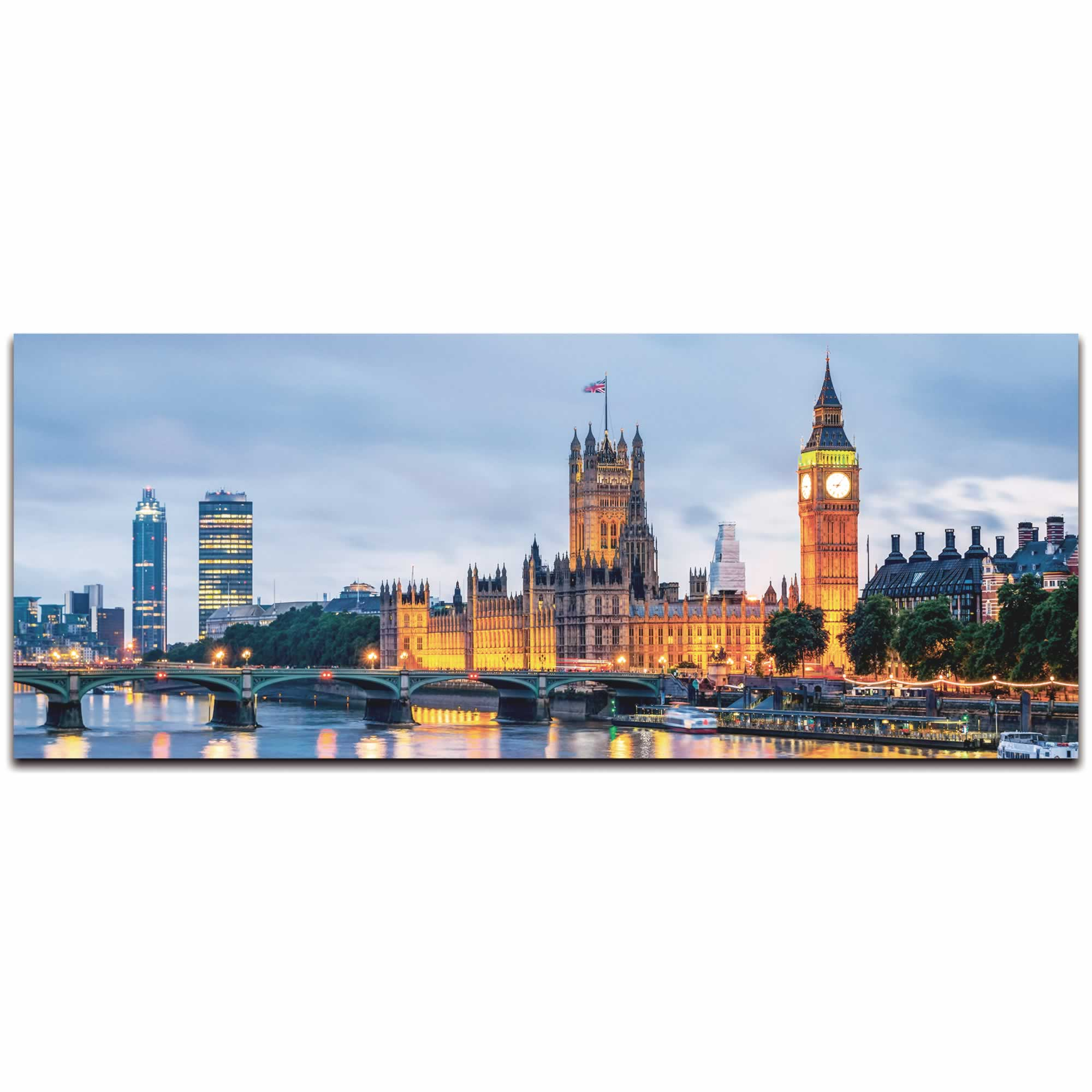 Classic London City Skyline - Urban Modern Art, Designer Home Decor, Cityscape Wall Artwork, Trendy Contemporary Art - Alternate View 2