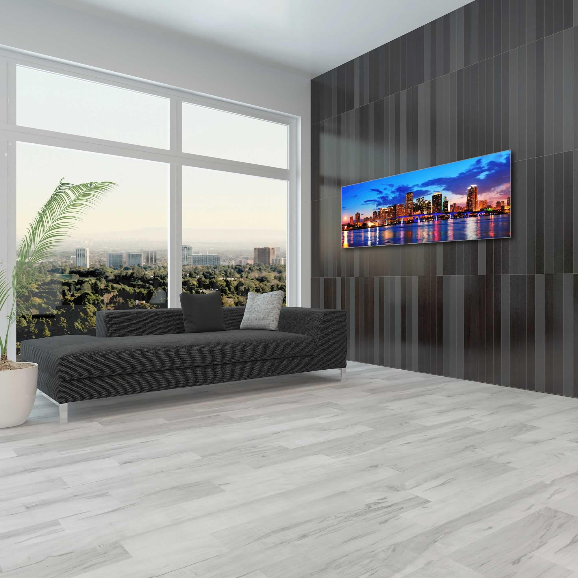Miami City Skyline - Urban Modern Art, Designer Home Decor, Cityscape Wall Artwork, Trendy Contemporary Art - Alternate View 1