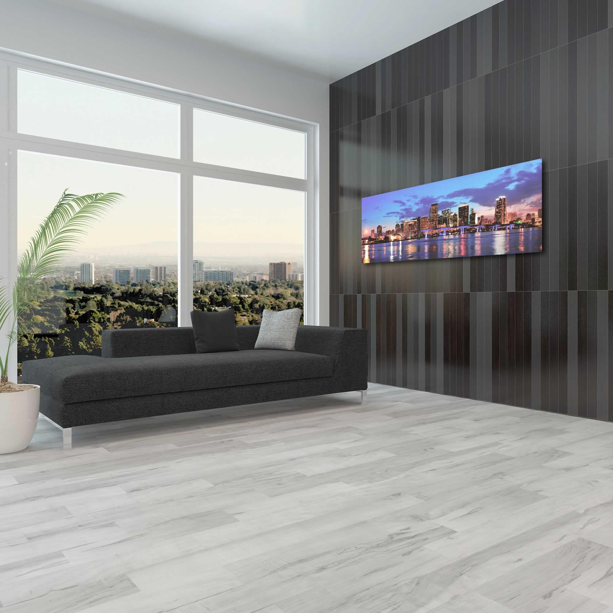 Miami City Skyline - Urban Modern Art, Designer Home Decor, Cityscape Wall Artwork, Trendy Contemporary Art - Alternate View 3