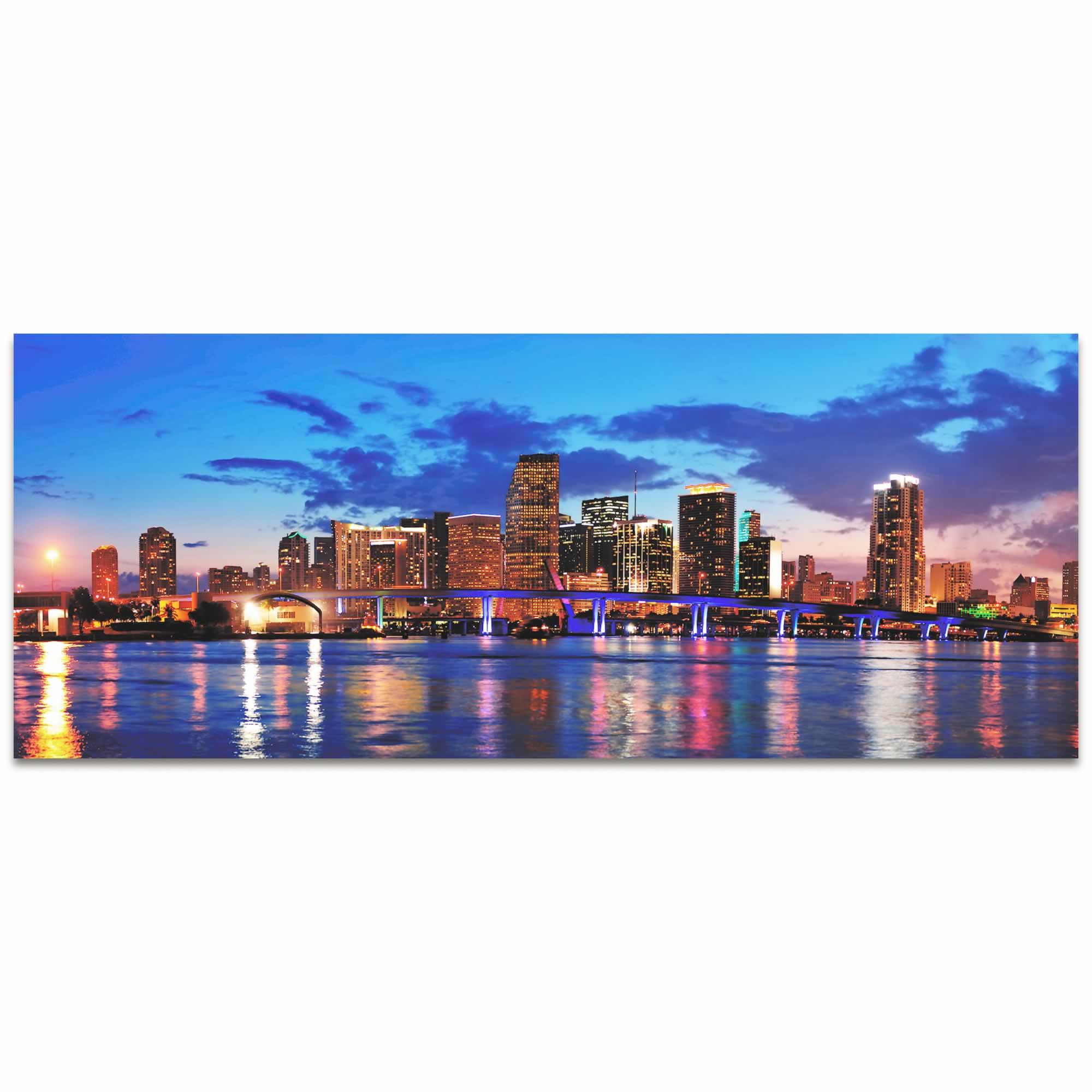 Miami City Skyline - Urban Modern Art, Designer Home Decor, Cityscape Wall Artwork, Trendy Contemporary Art - Alternate View 2