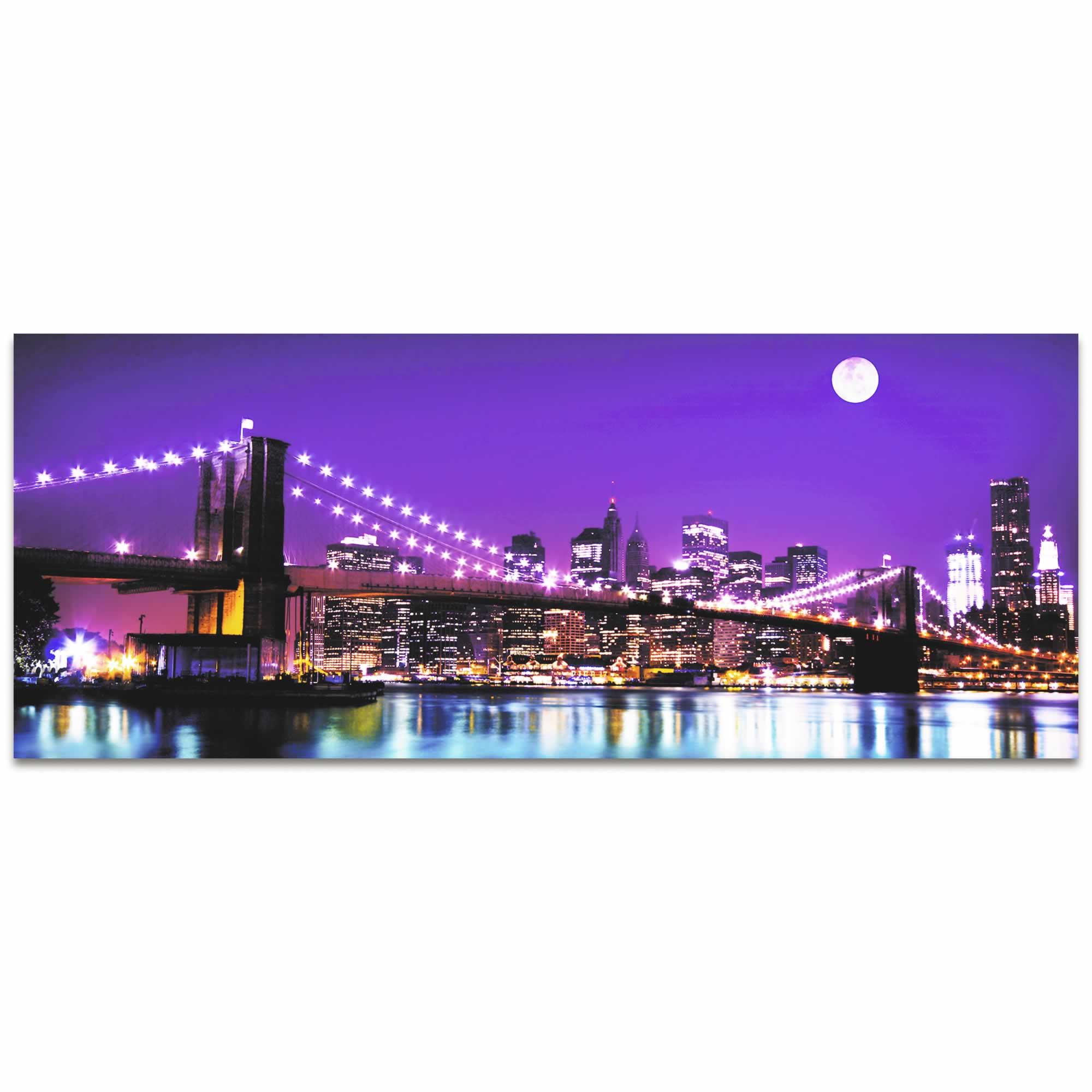 New York Bridge City Skyline - Urban Modern Art, Designer Home Decor, Cityscape Wall Artwork, Trendy Contemporary Art - Alternate View 2