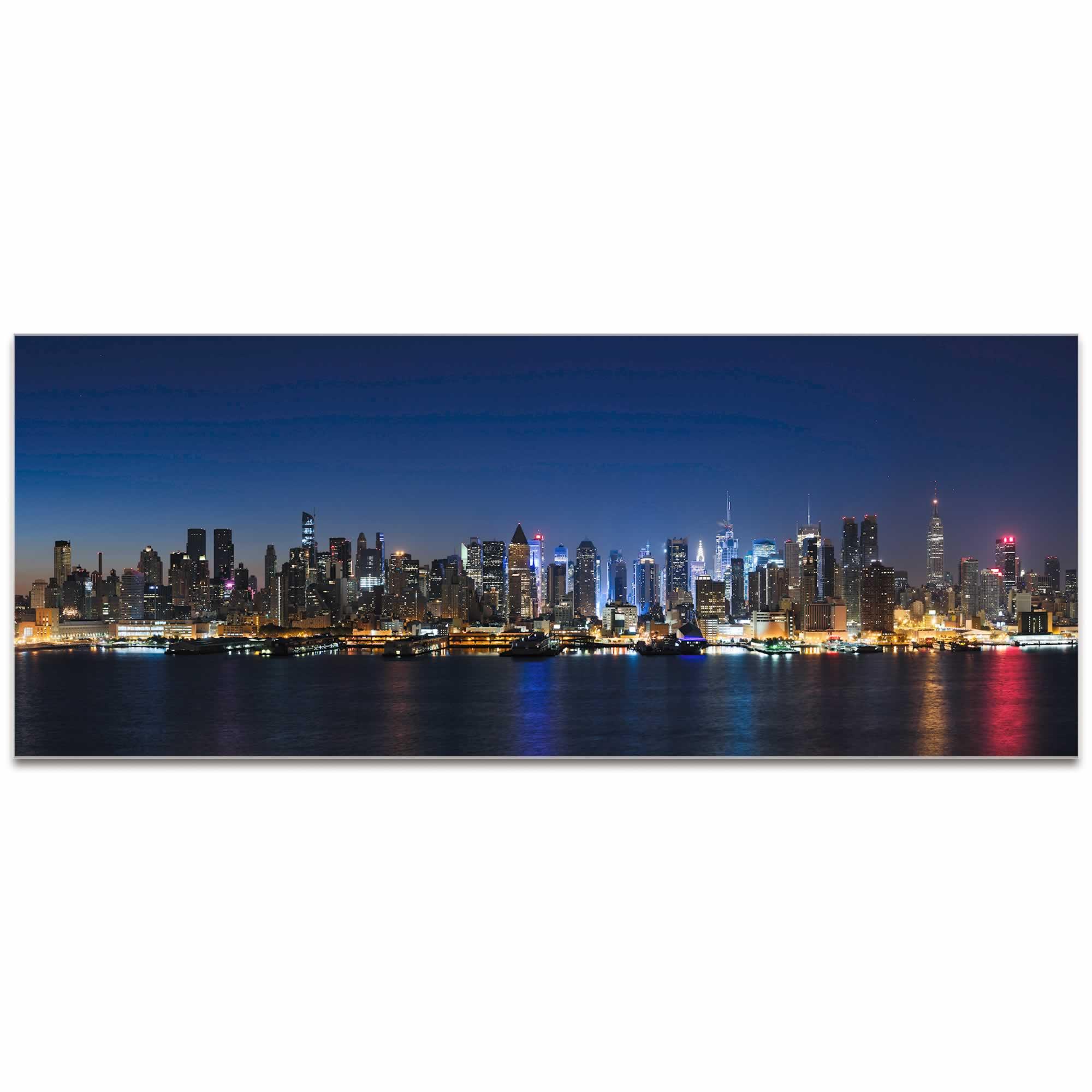 New York Harbor City Skyline - Urban Modern Art, Designer Home Decor, Cityscape Wall Artwork, Trendy Contemporary Art