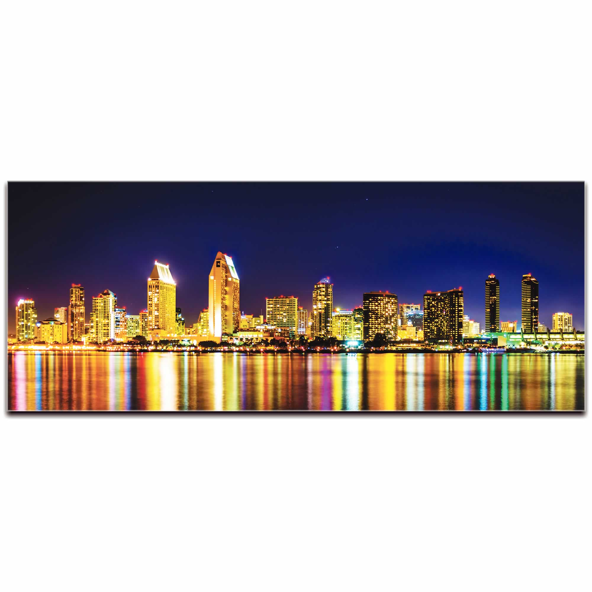 San Diego City Skyline At Night - Urban Modern Art, Designer Home Decor, Cityscape Wall Artwork, Trendy Contemporary Art