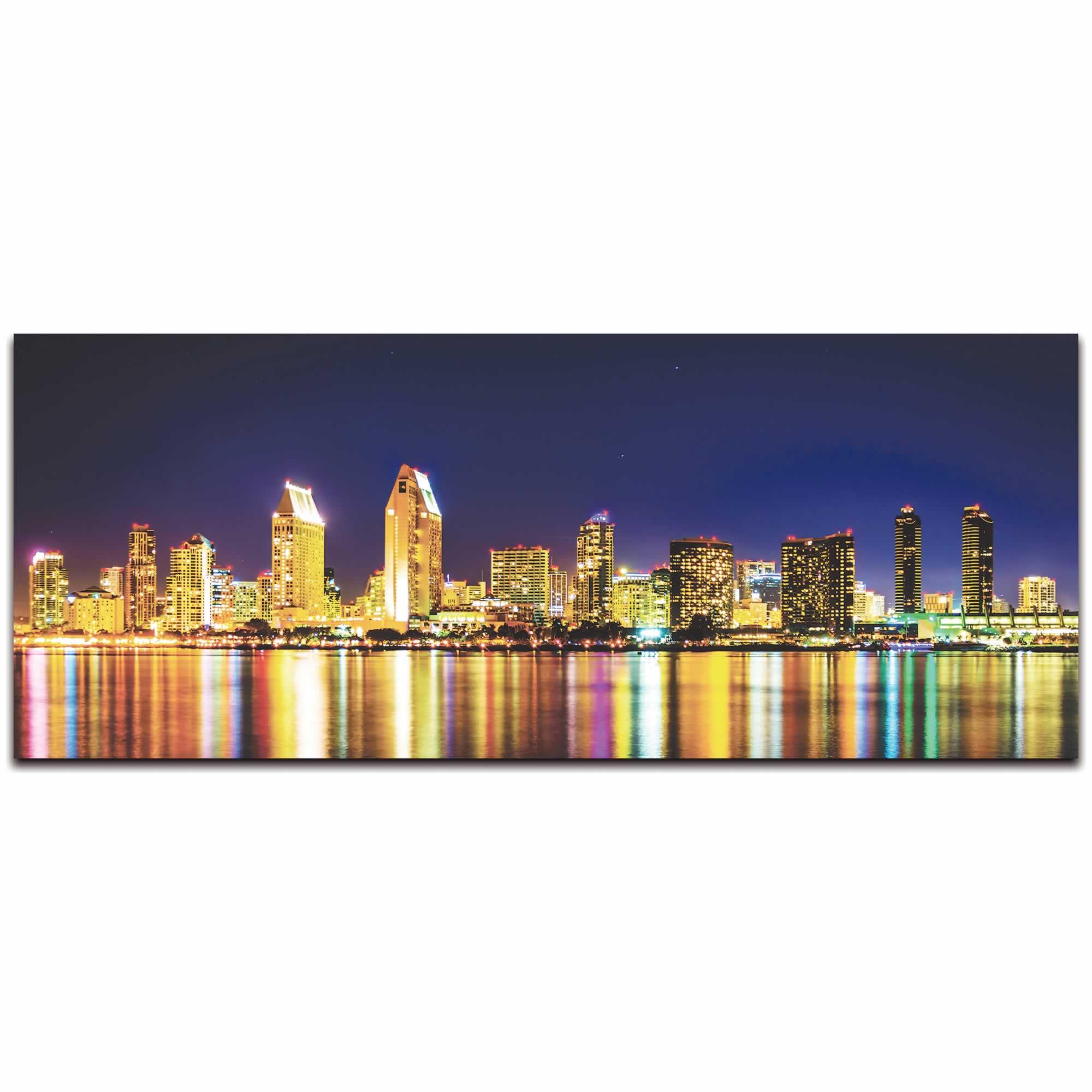San Diego City Skyline At Night - Urban Modern Art, Designer Home Decor, Cityscape Wall Artwork, Trendy Contemporary Art - Alternate View 2