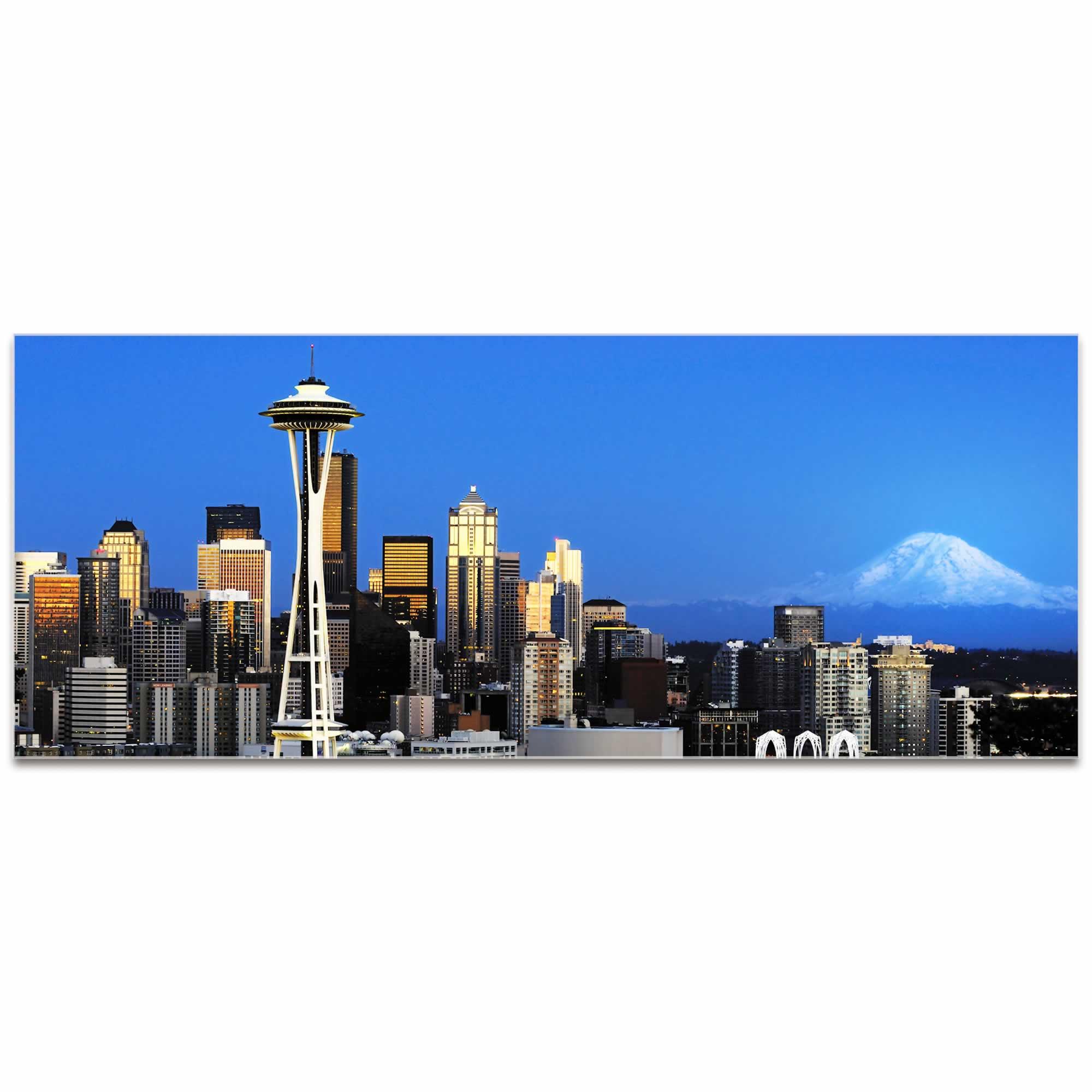 Seattle City Skyline - Urban Modern Art, Designer Home Decor, Cityscape Wall Artwork, Trendy Contemporary Art
