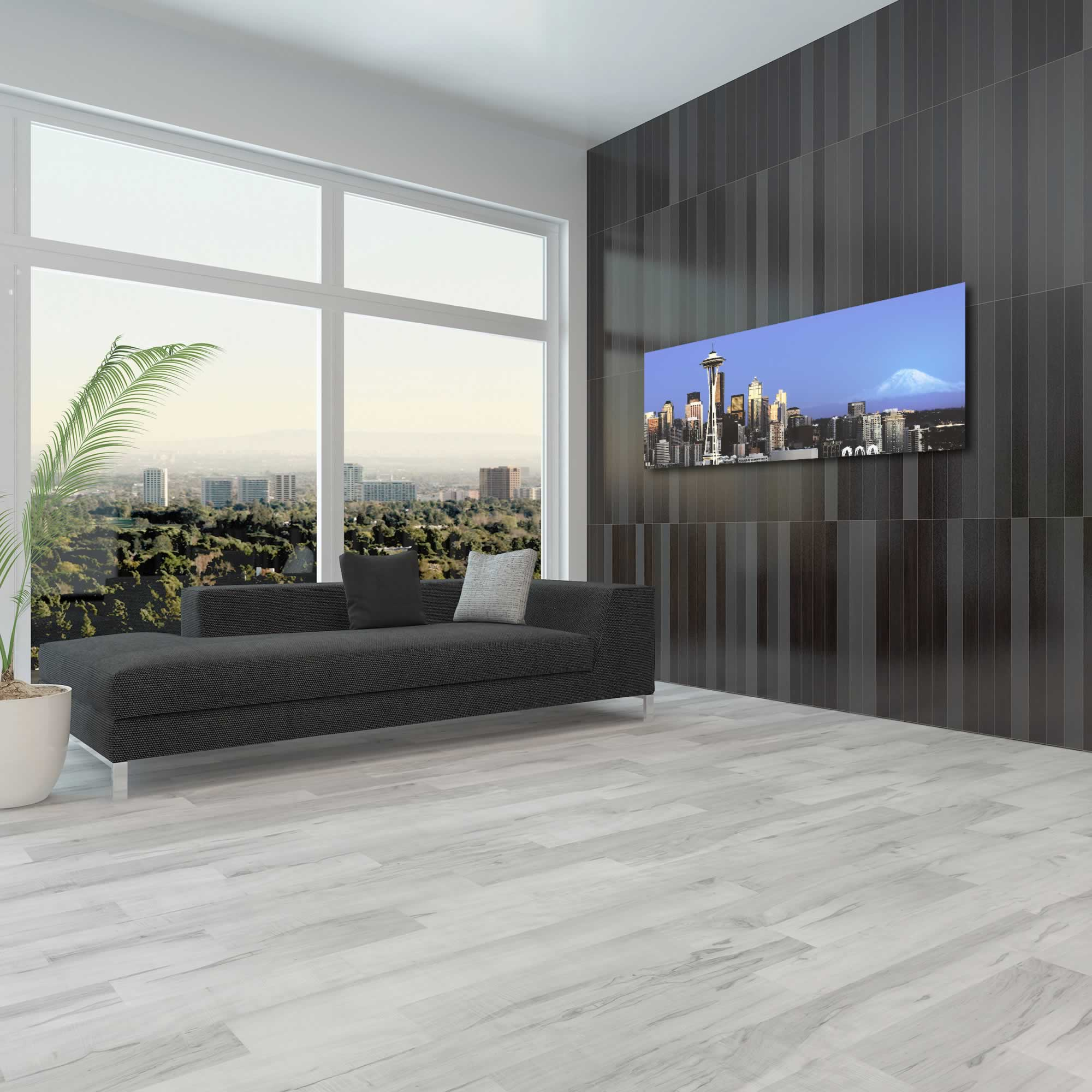 Seattle City Skyline - Urban Modern Art, Designer Home Decor, Cityscape Wall Artwork, Trendy Contemporary Art - Alternate View 3