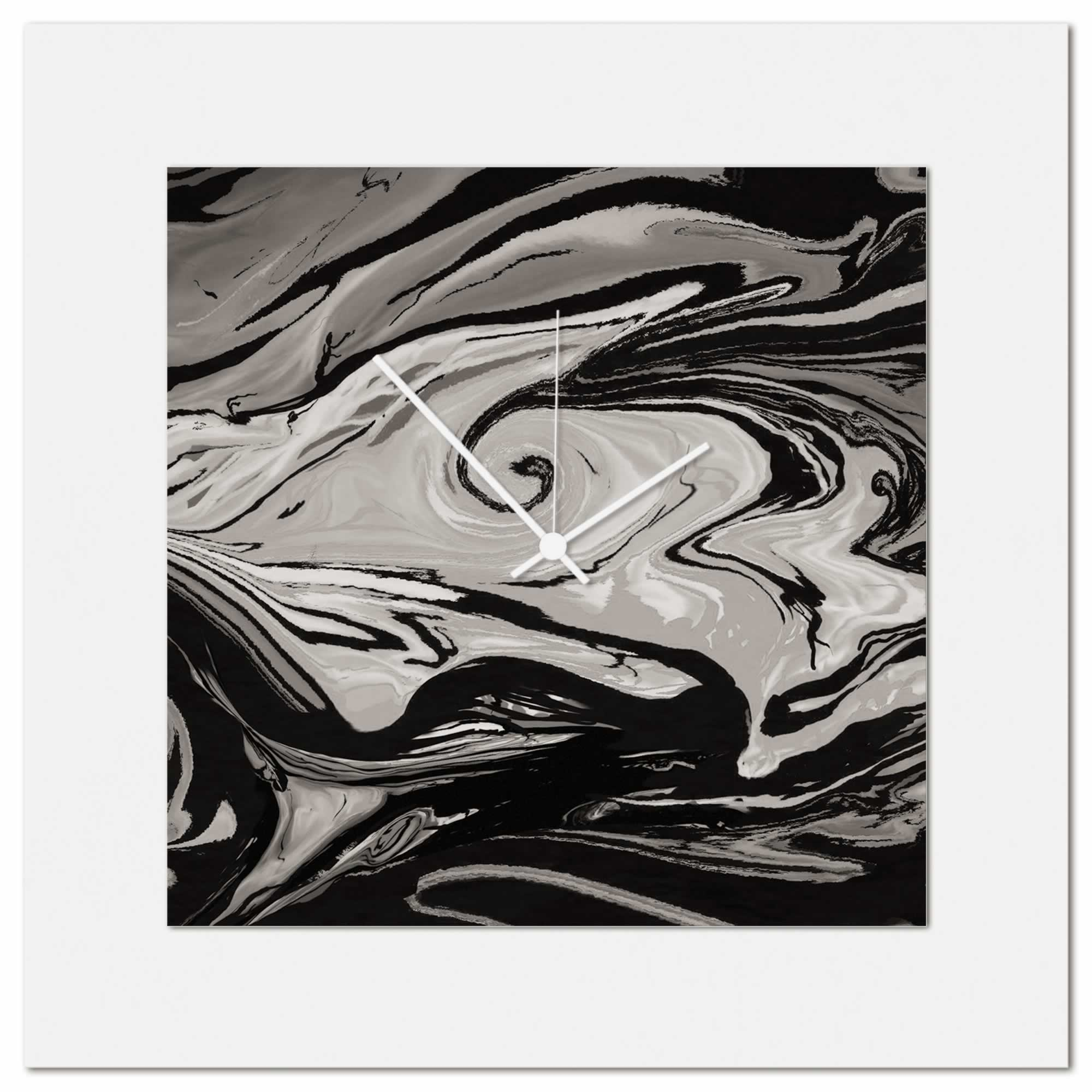 Grey and Black Swirl Clock by Eric Waddington Multimedia Abstract Wall Decor - Alternate View 1