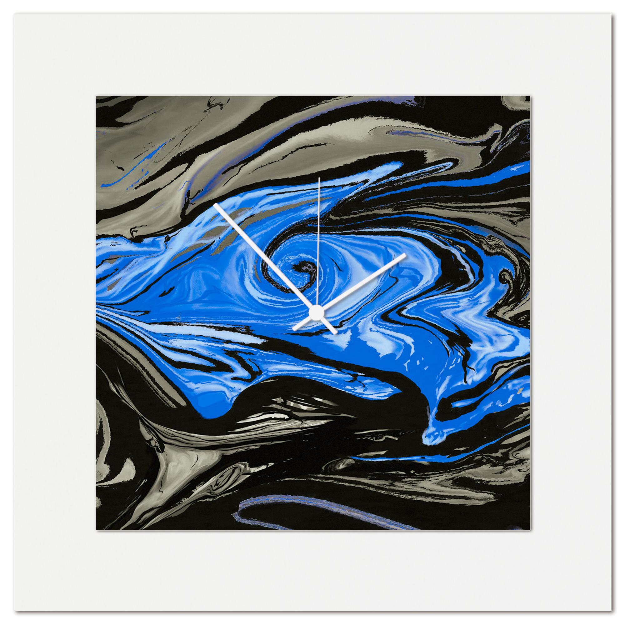 Blue Swirl Clock by Eric Waddington Multimedia Abstract Wall Decor