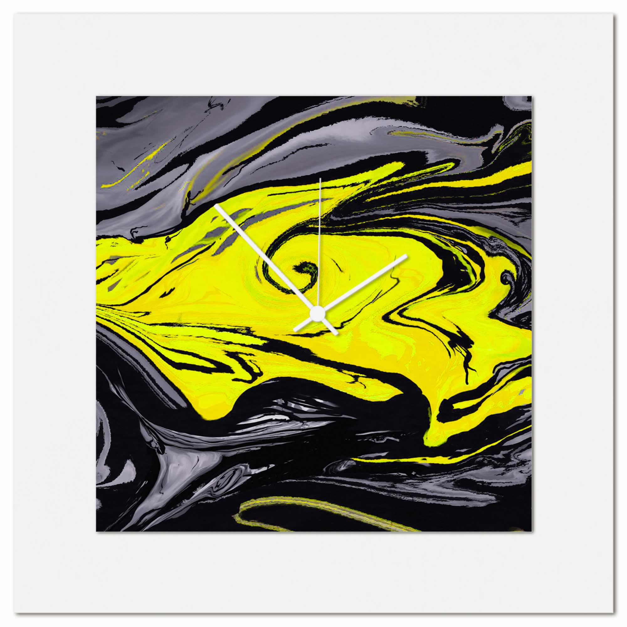 Metal Art Studio - Yellow Swirl Clock Multimedia Abstract Wall Decor ...