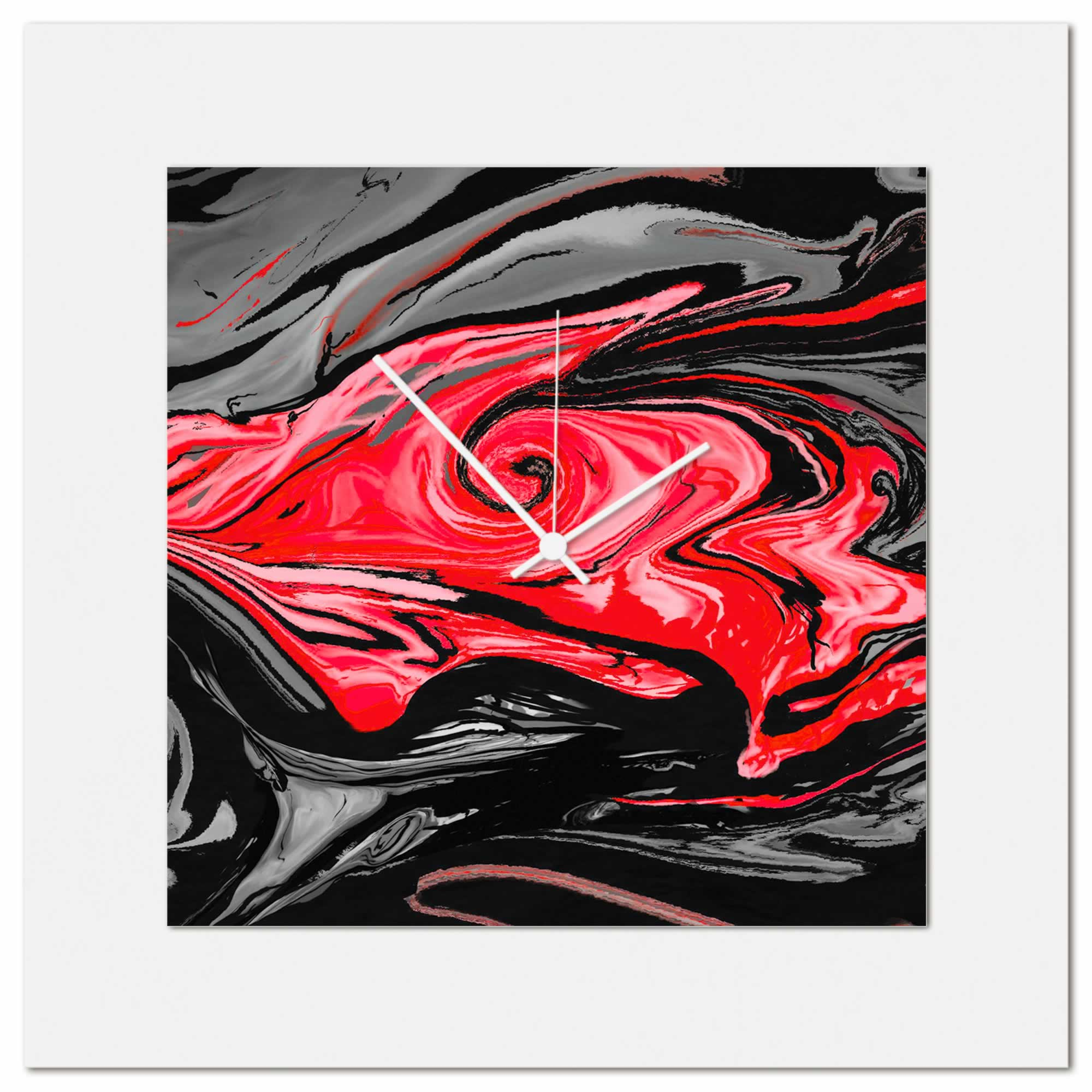 Red Swirl Clock by Eric Waddington Multimedia Abstract Wall Decor
