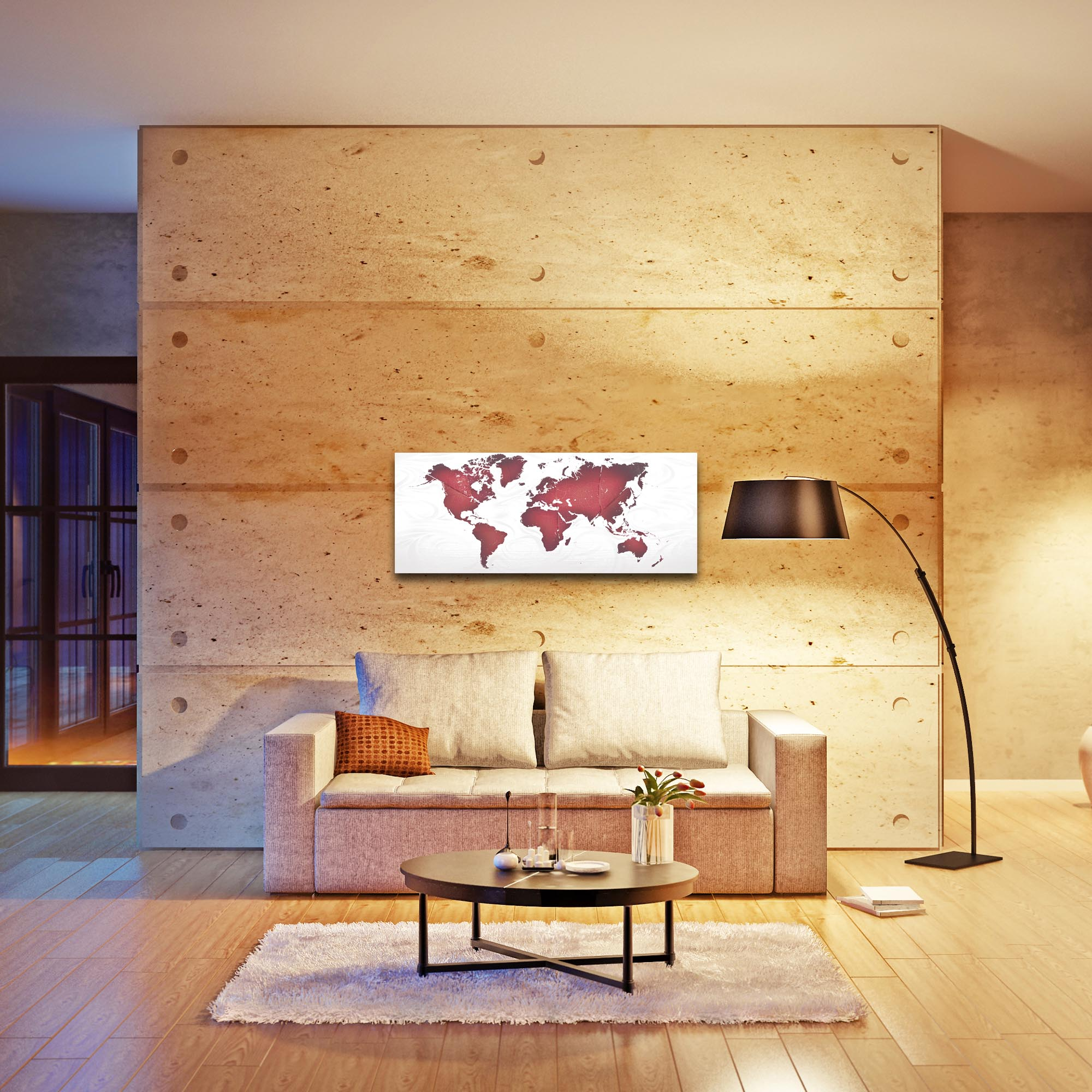 Abstract World Map 'Red White Land and Sea' - Urban Wall Art on Metal or Acrylic - Lifestyle View
