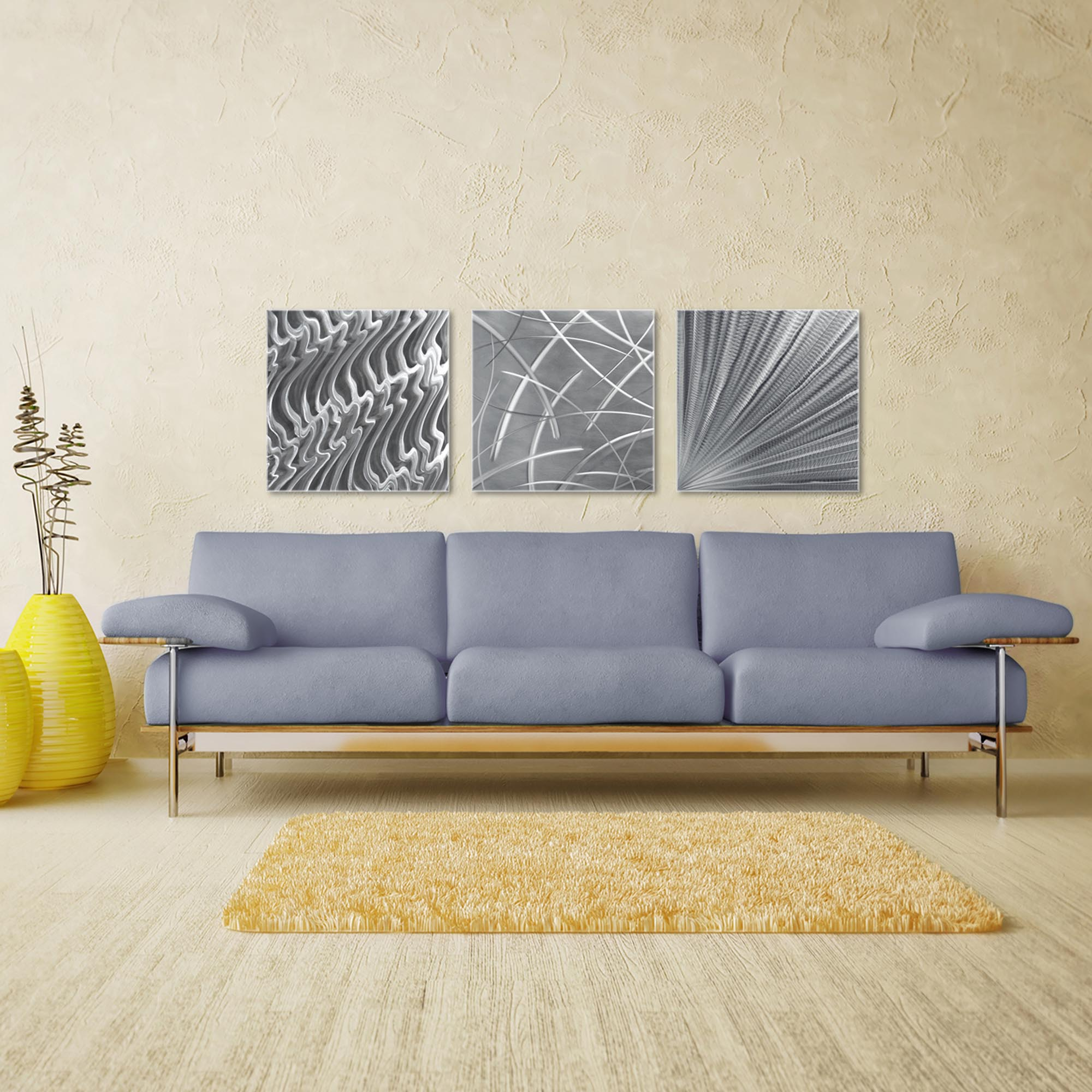 Countless v2 Triptych Large 70x22in. Metal or Acrylic Contemporary Decor - Image 3