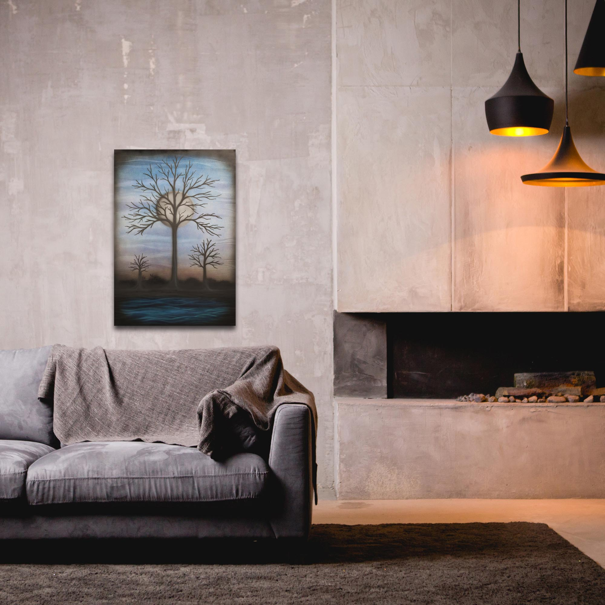 Contemporary Wall Art 'Full Moon' - Bare Trees Decor on Metal or Plexiglass - Lifestyle View