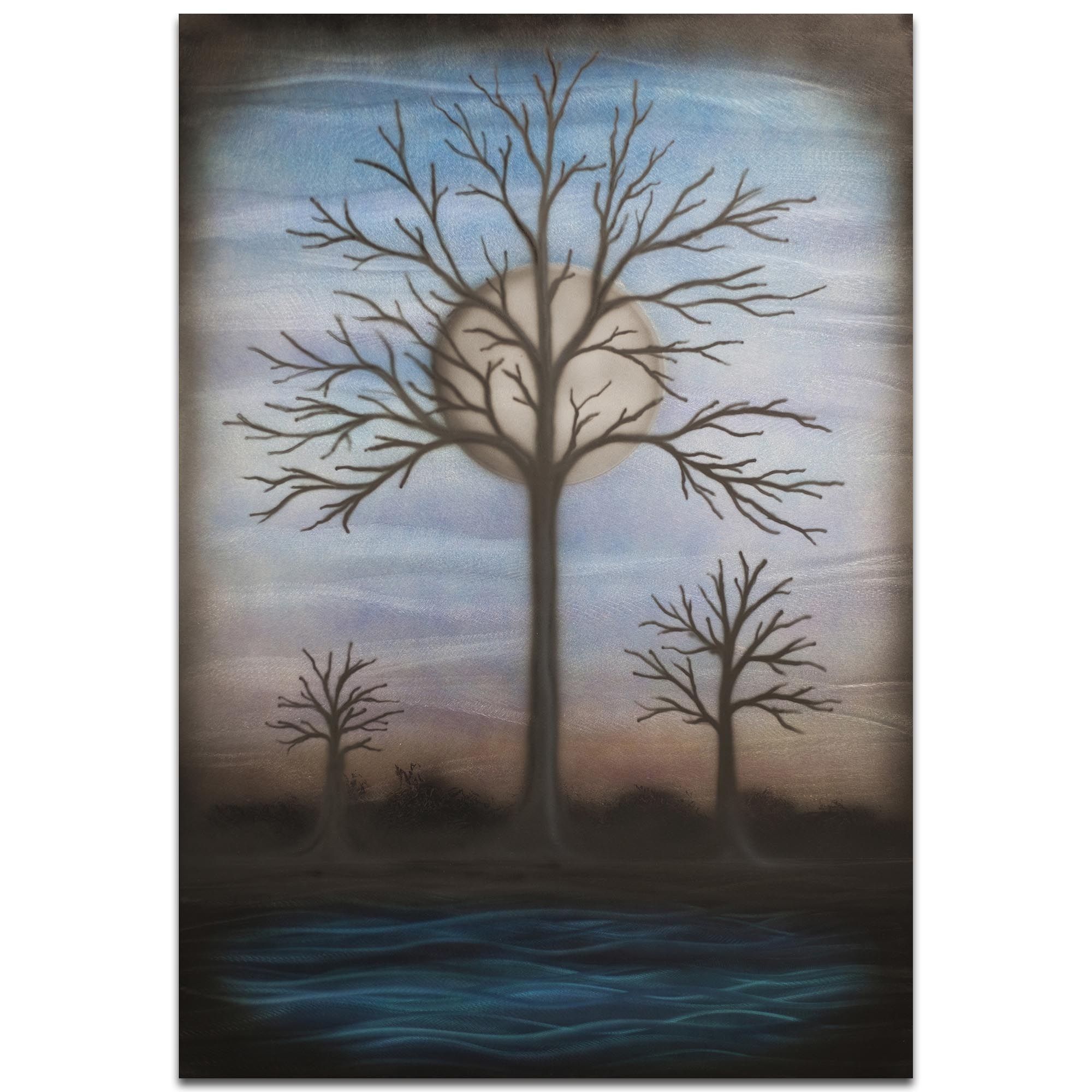 Contemporary Wall Art 'Full Moon' - Bare Trees Decor on Metal or Plexiglass