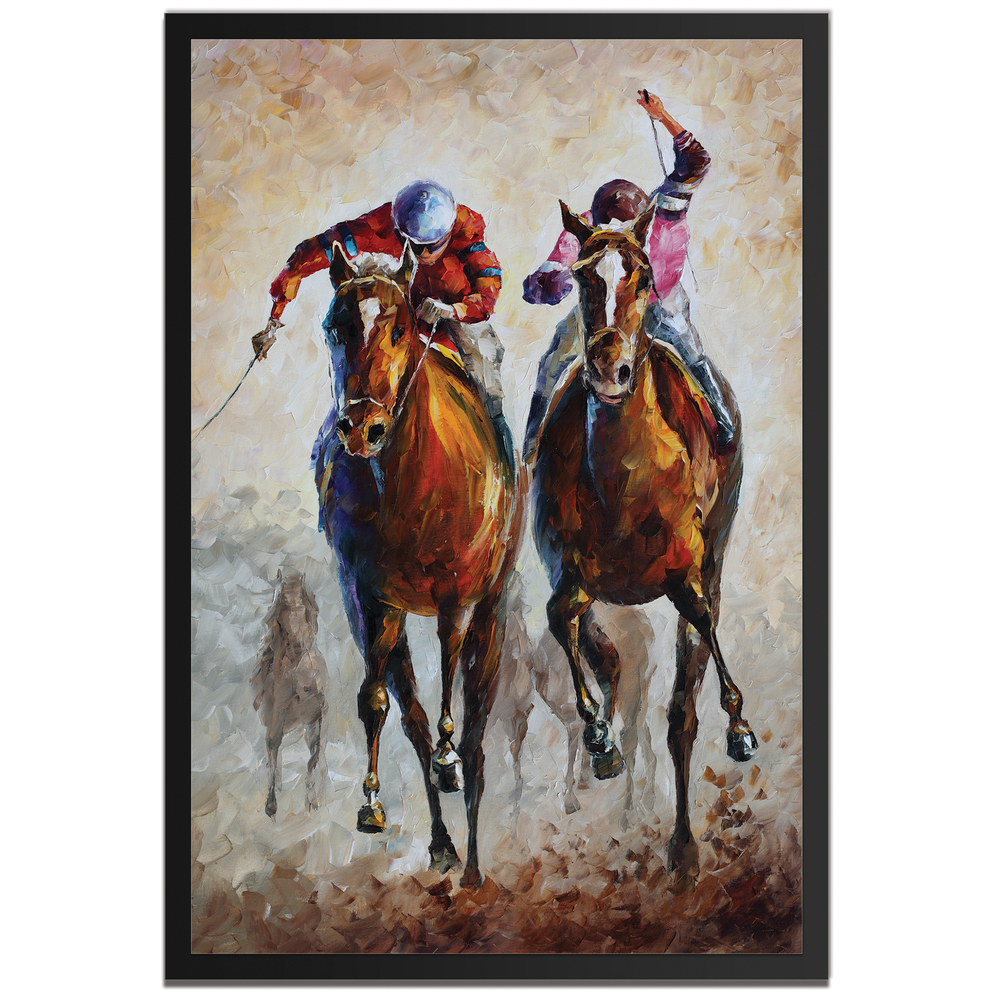 Leonid Afremov 'Contenders Framed' 22in x 32in Traditional Horse Racing Art on Colored Metal