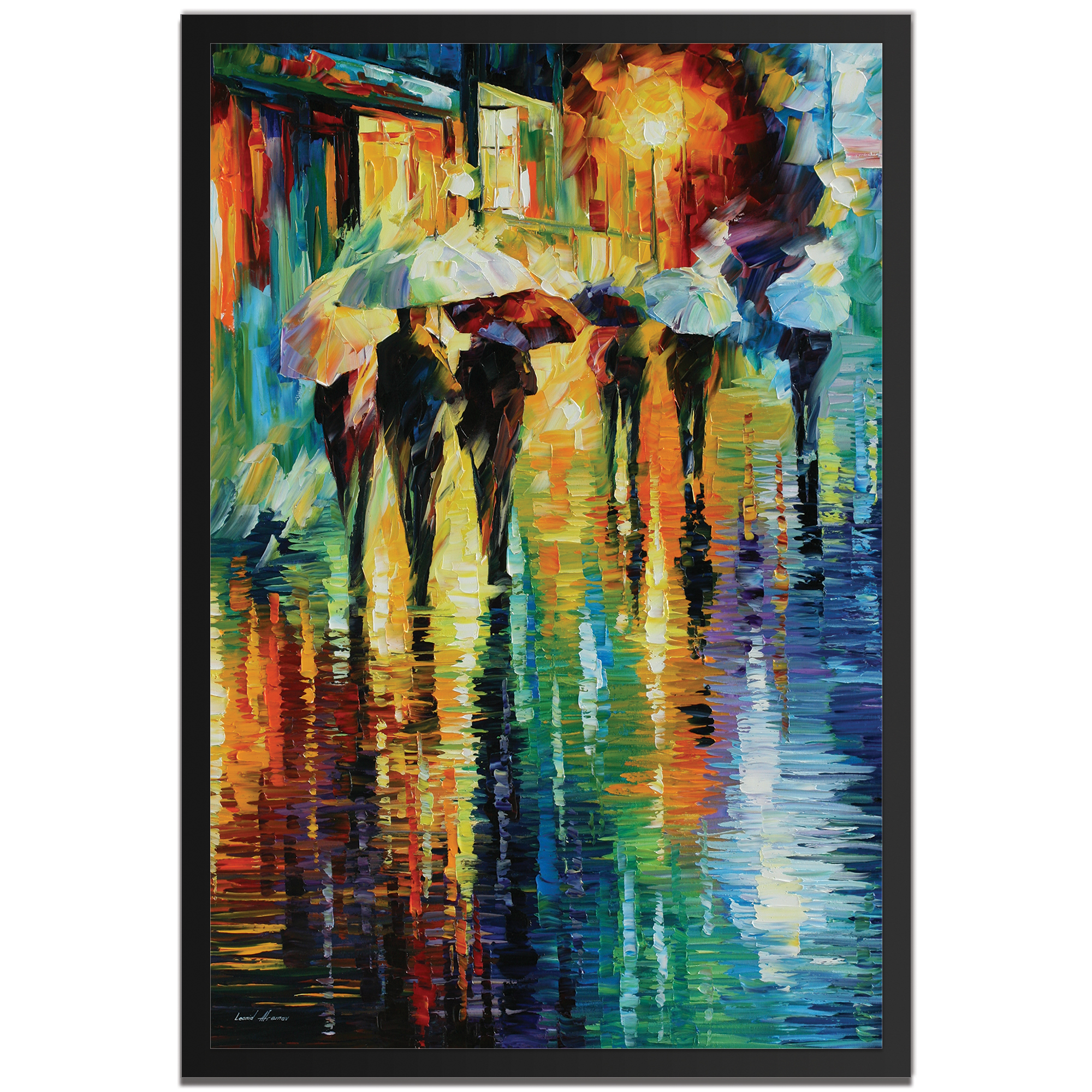 Leonid Afremov 'Rainy Etude Framed' 22in x 32in Abstract Cityscape Art on Colored Metal