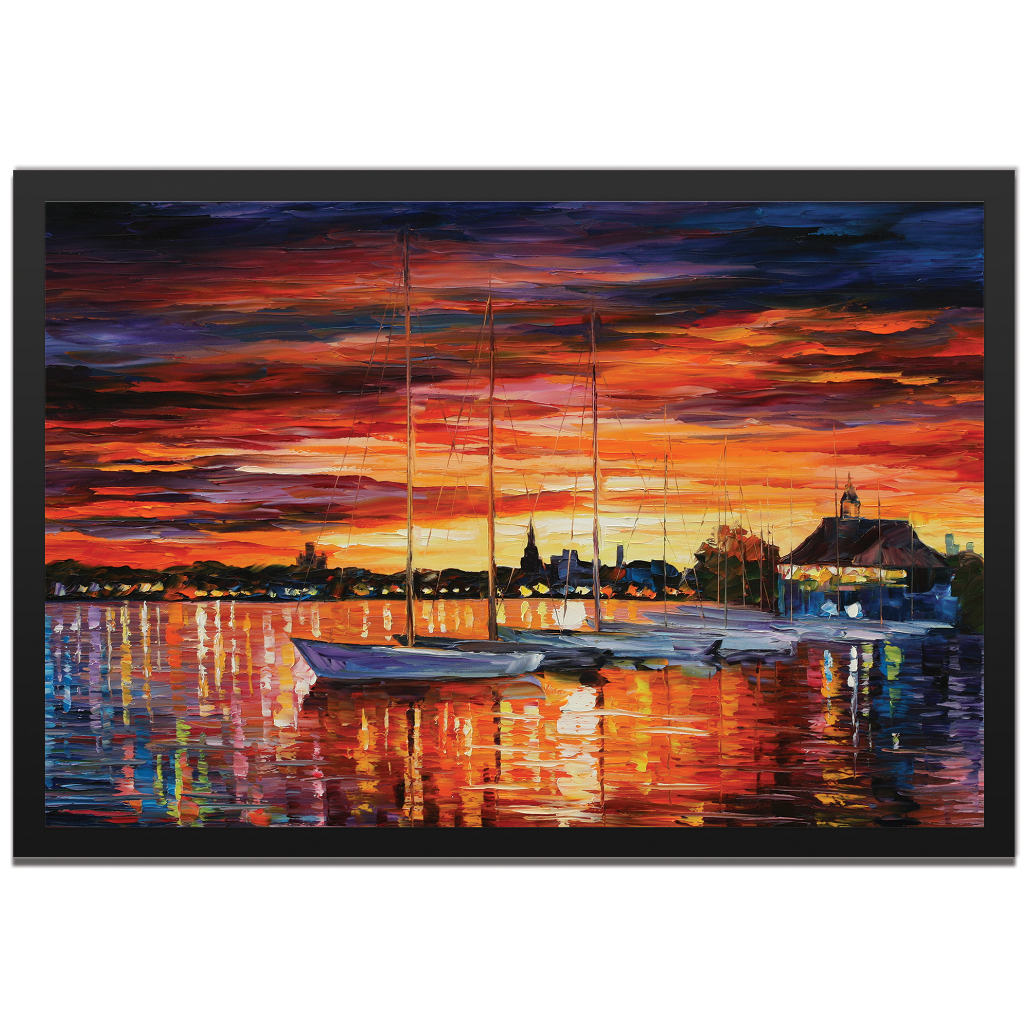 Leonid Afremov 'Helsinki Sailboats at Yacht Club Framed' 32in x 22in Landscape Photography Sunset Art on Colored Metal