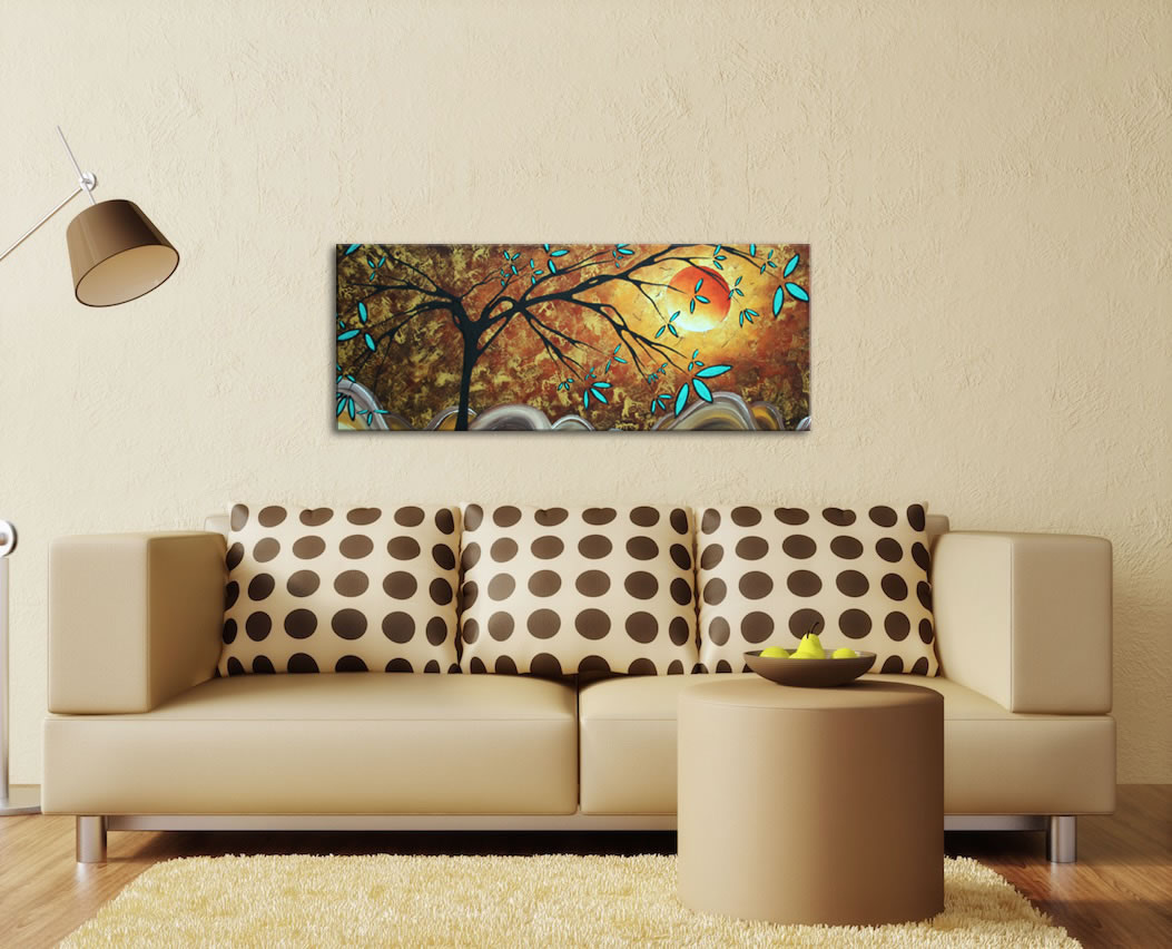 Apricot Moon - Abstract Painting Print by Megan Duncanson - Lifestyle Image