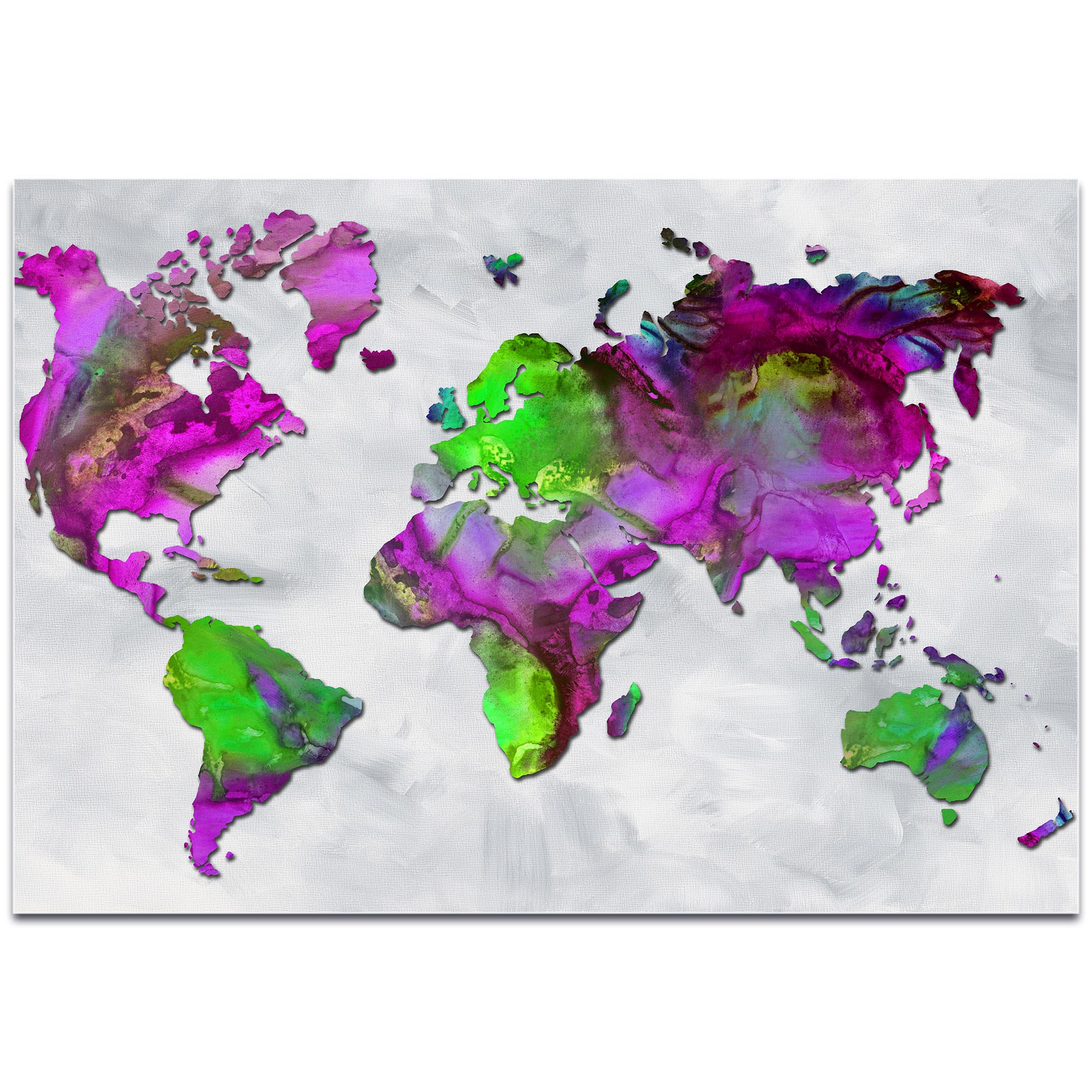 Abstract World Map 'The Beauty of Color Overlay v2' - Modern Map Art on Metal or Acrylic - Image 2