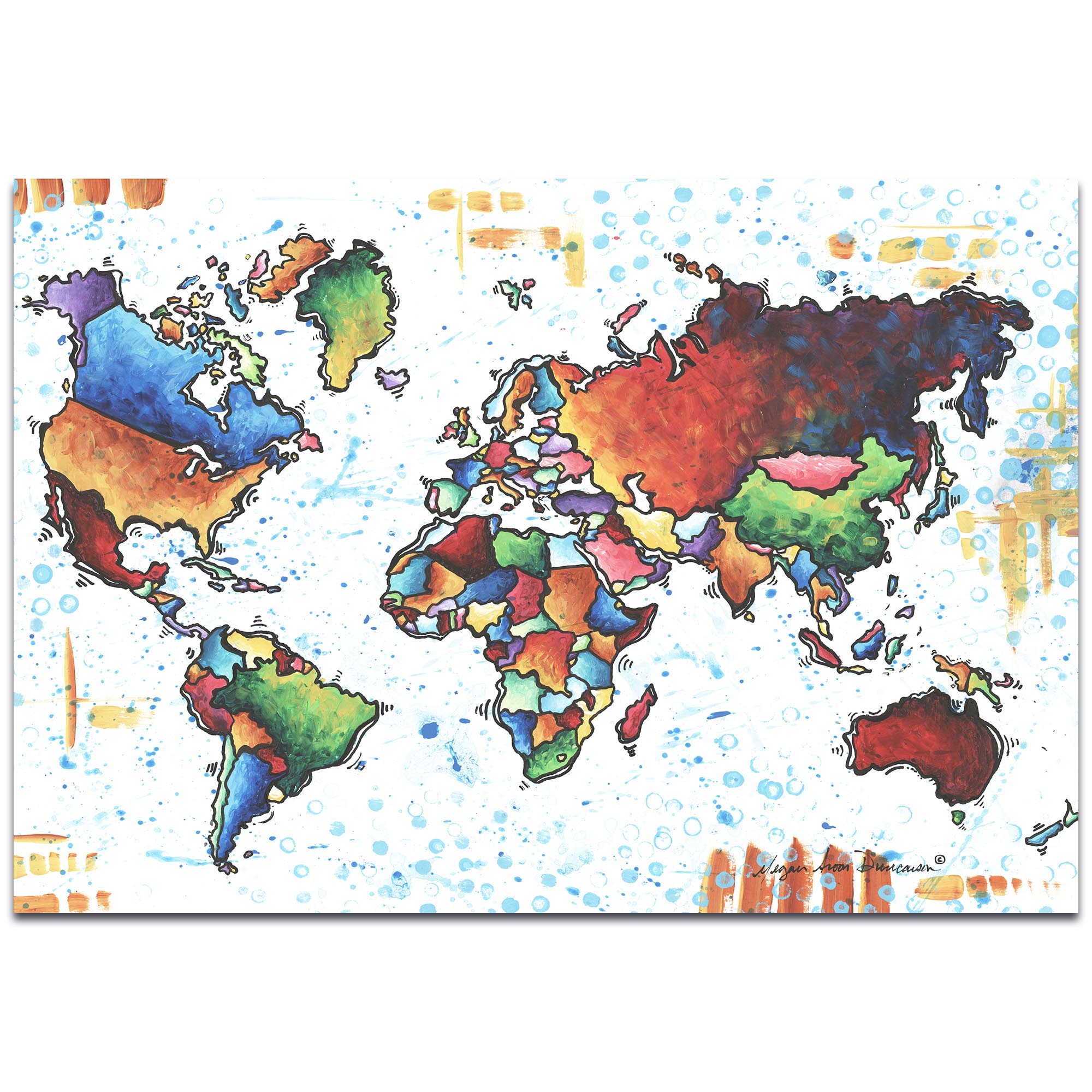 Rainbow Map 'A World of Diversity' - Modern Map Art on Metal or Acrylic