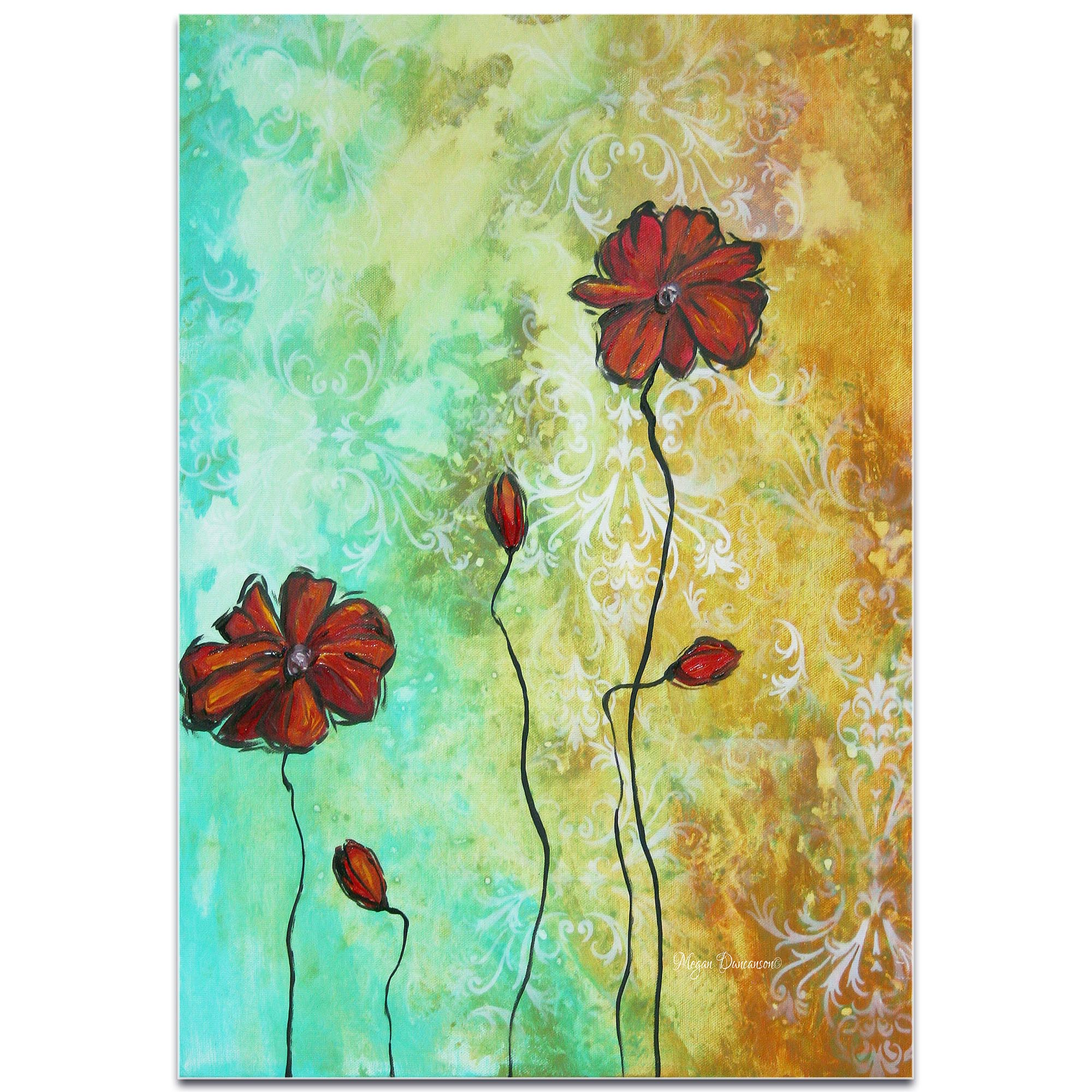 Flower Painting 'Poppy Love' - Abstract Flower Art on Metal or Acrylic - Image 2