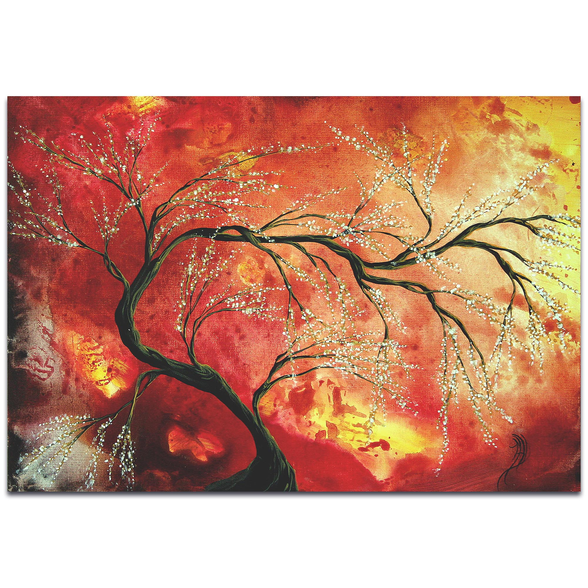 Landscape Painting 'Fresh Blossoms' - Abstract Tree Art on Metal or Acrylic