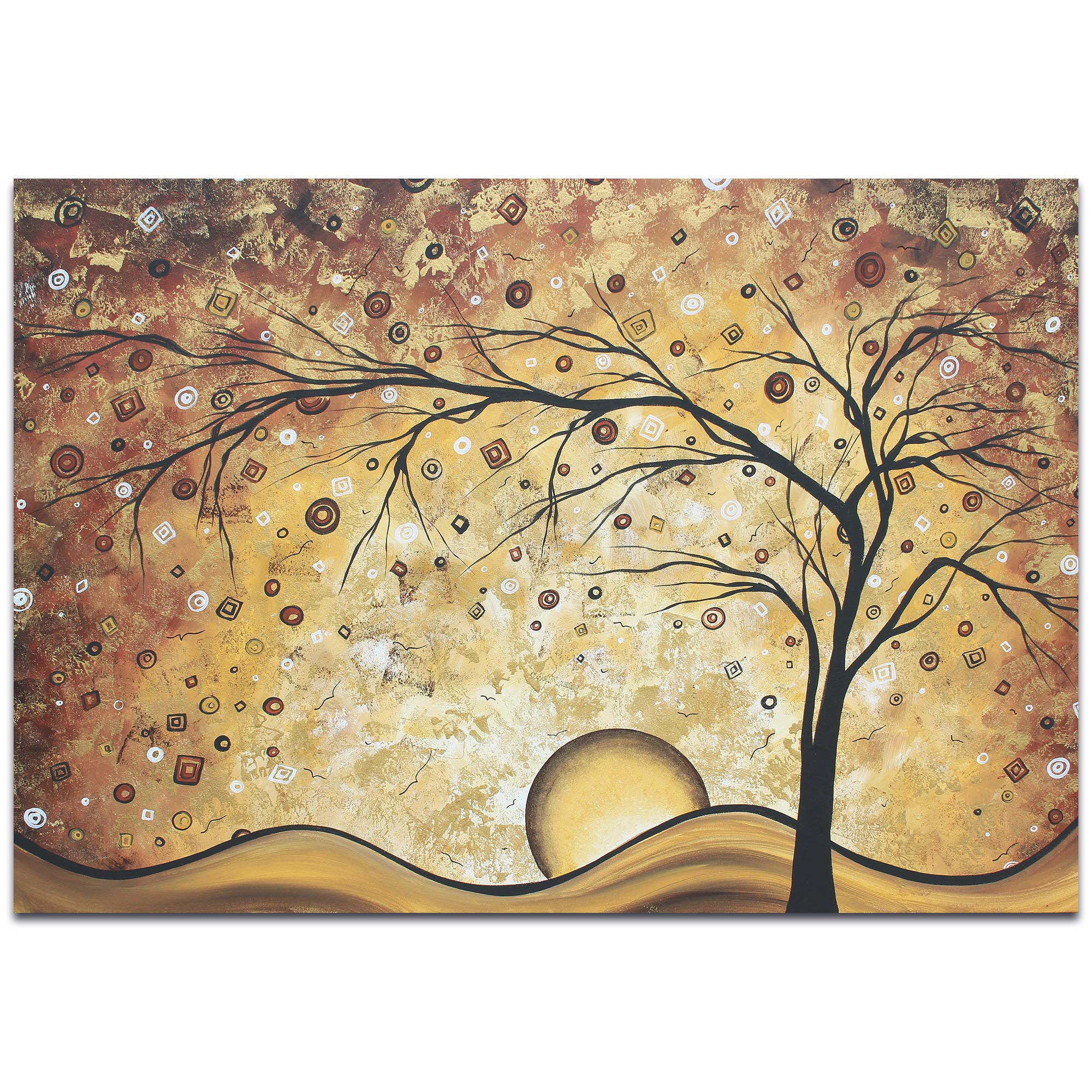 Landscape Painting 'Golden Rhapsody' - Abstract Tree Art on Metal or Acrylic