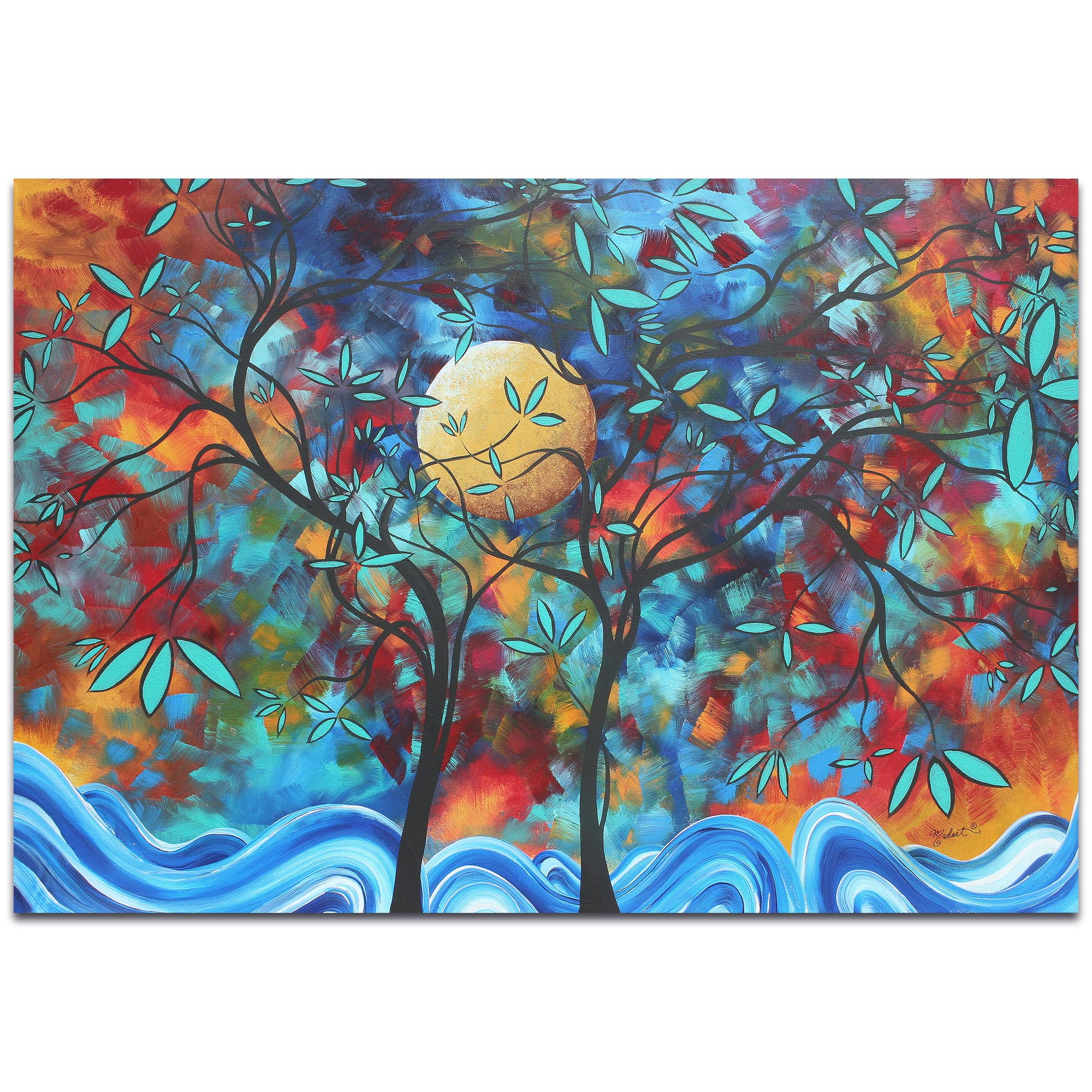 Landscape Painting 'Lovers Moon' - Abstract Tree Art on Metal or Acrylic