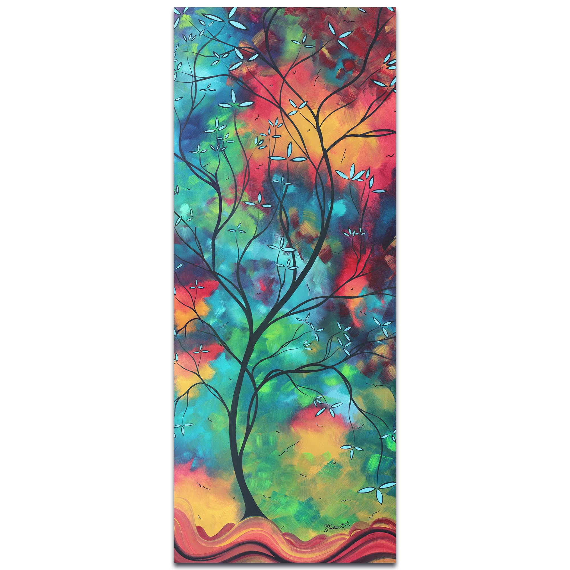 Landscape Painting 'Colored Inspiration' - Abstract Tree Art on Metal or Acrylic